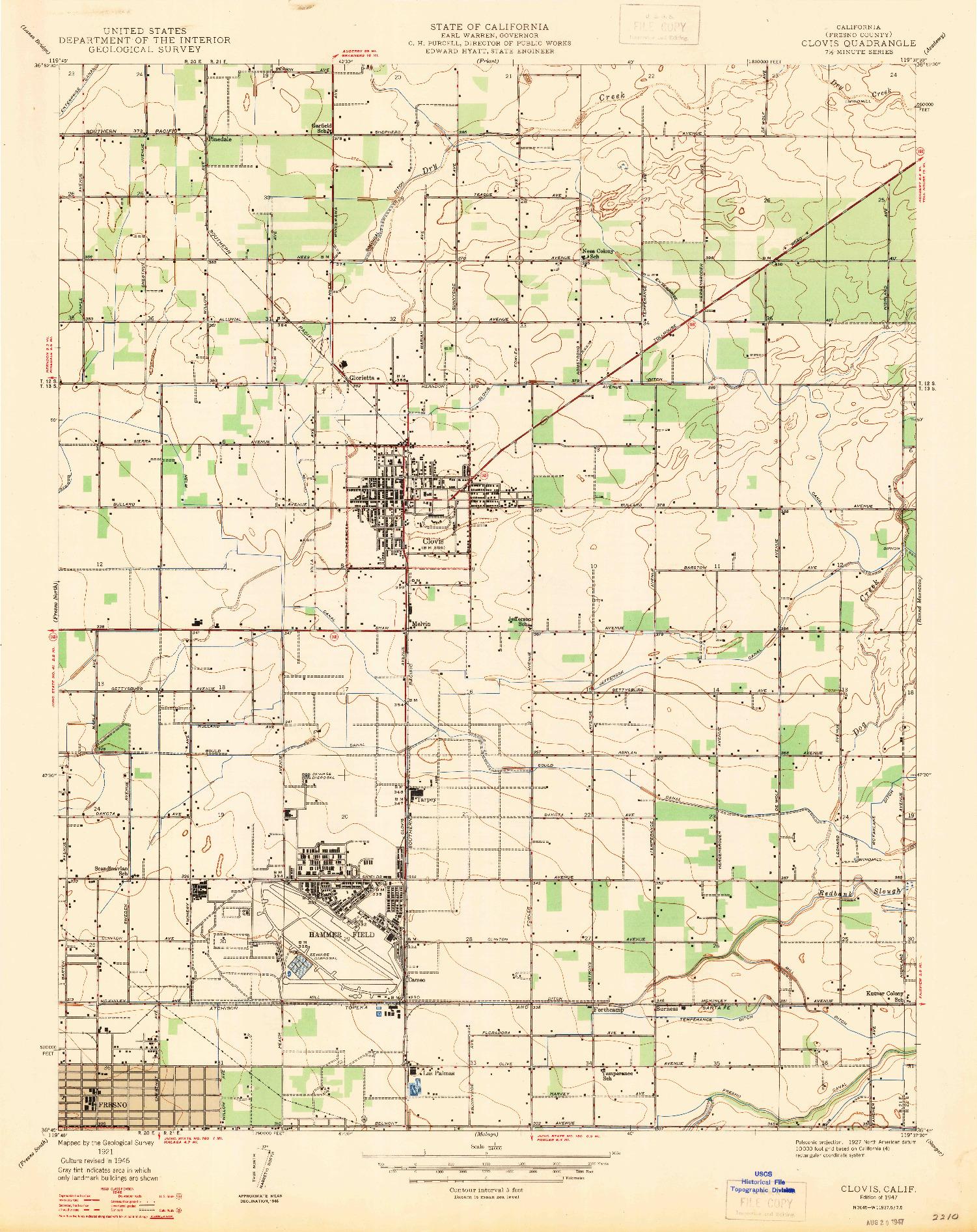 USGS 1:24000-SCALE QUADRANGLE FOR CLOVIS, CA 1947