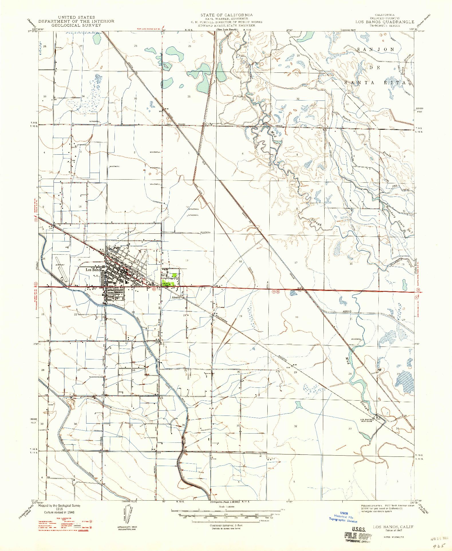 USGS 1:24000-SCALE QUADRANGLE FOR LOS BANOS, CA 1947