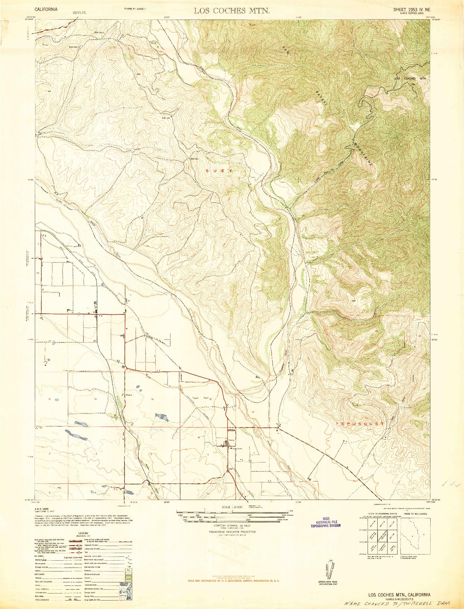 USGS 1:24000-SCALE QUADRANGLE FOR LOS COCHES MTN, CA 1947
