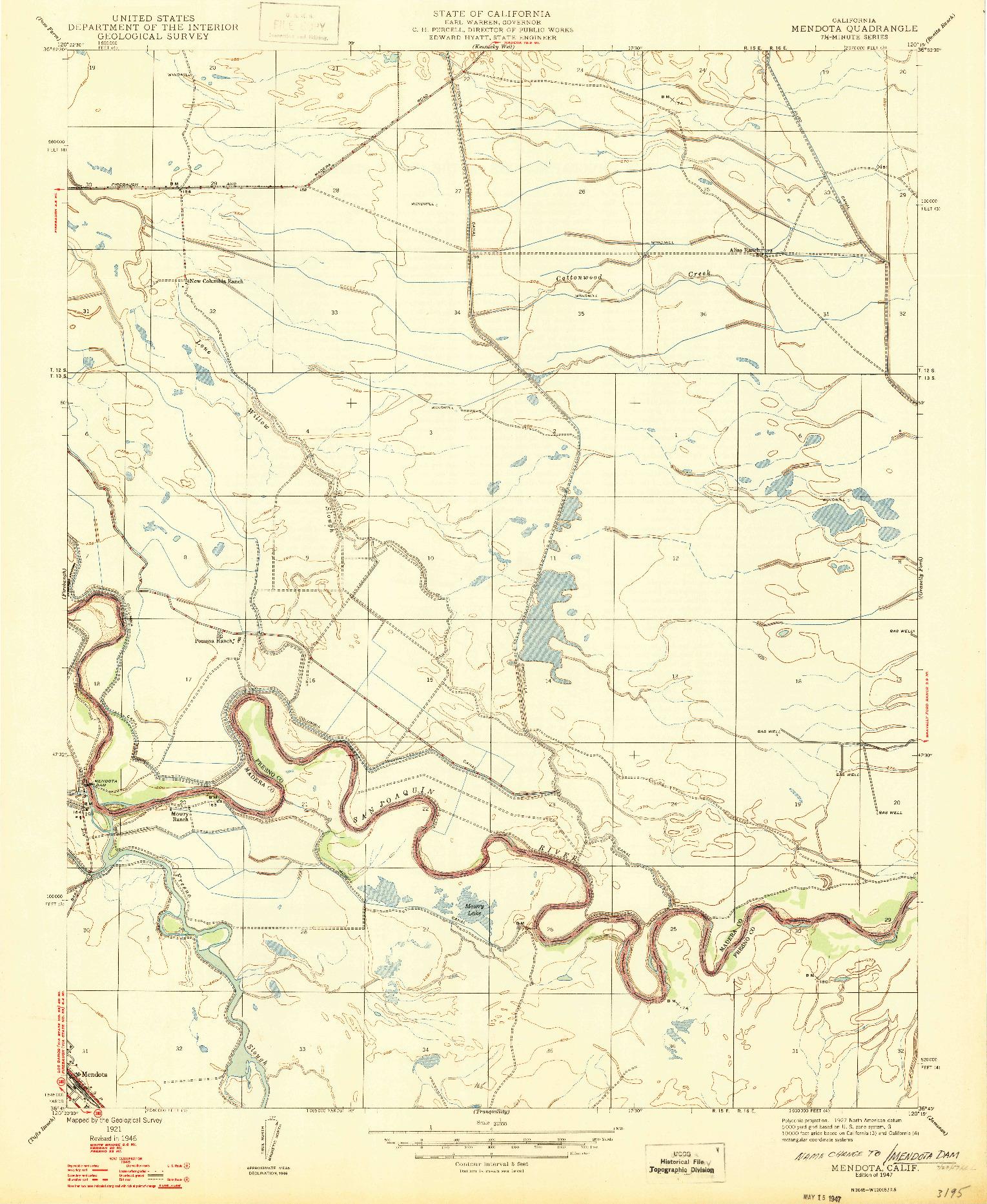 USGS 1:24000-SCALE QUADRANGLE FOR MENDOTA, CA 1947