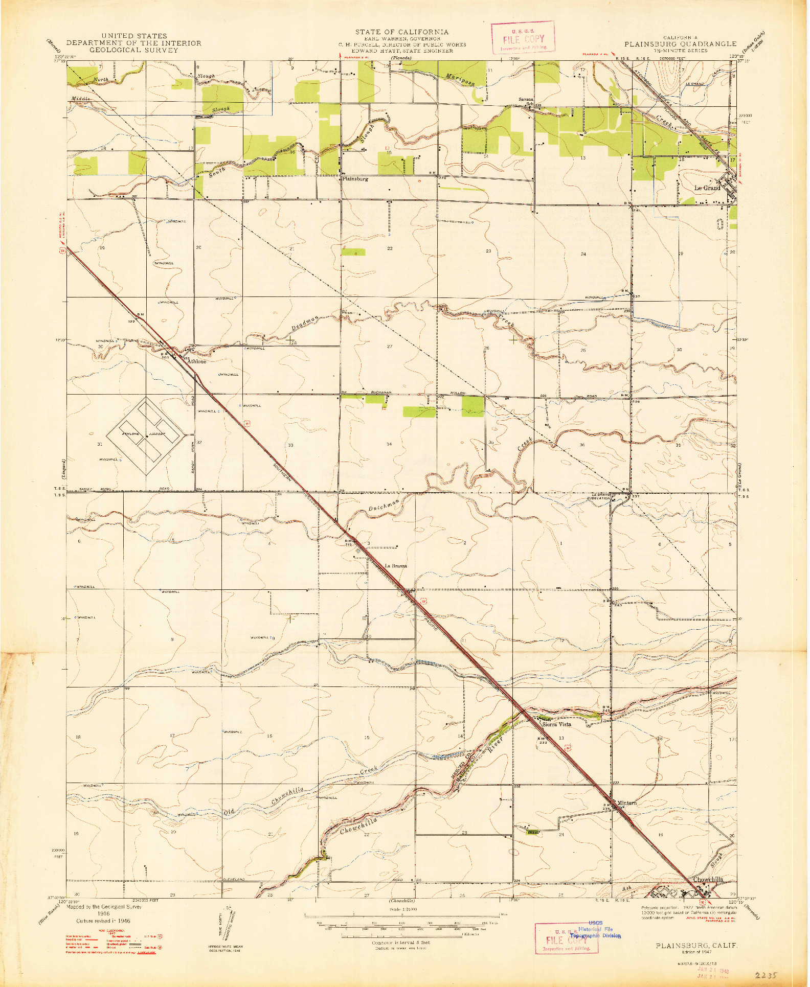 USGS 1:24000-SCALE QUADRANGLE FOR PLAINSBURG, CA 1947