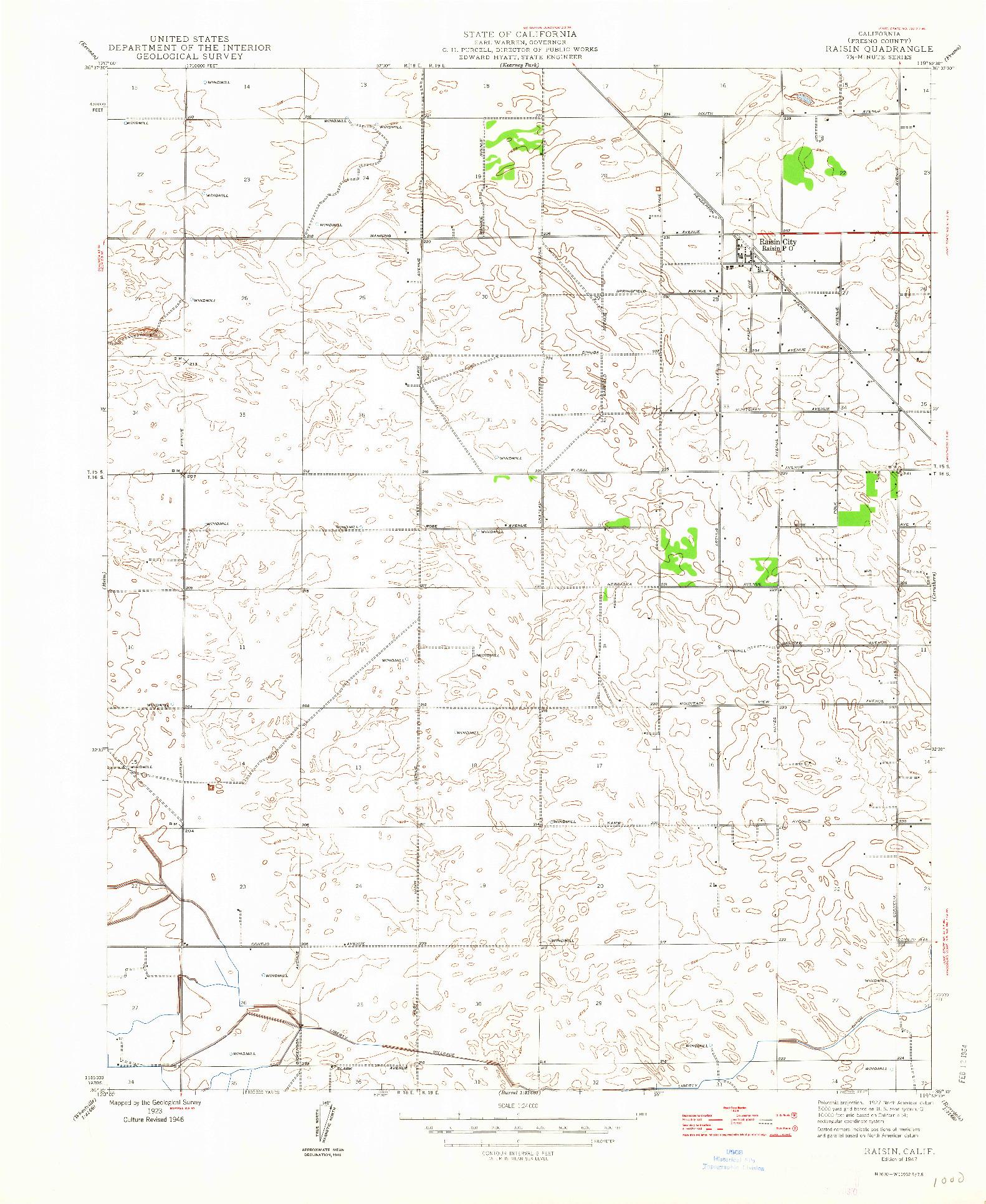 USGS 1:24000-SCALE QUADRANGLE FOR RAISIN, CA 1947