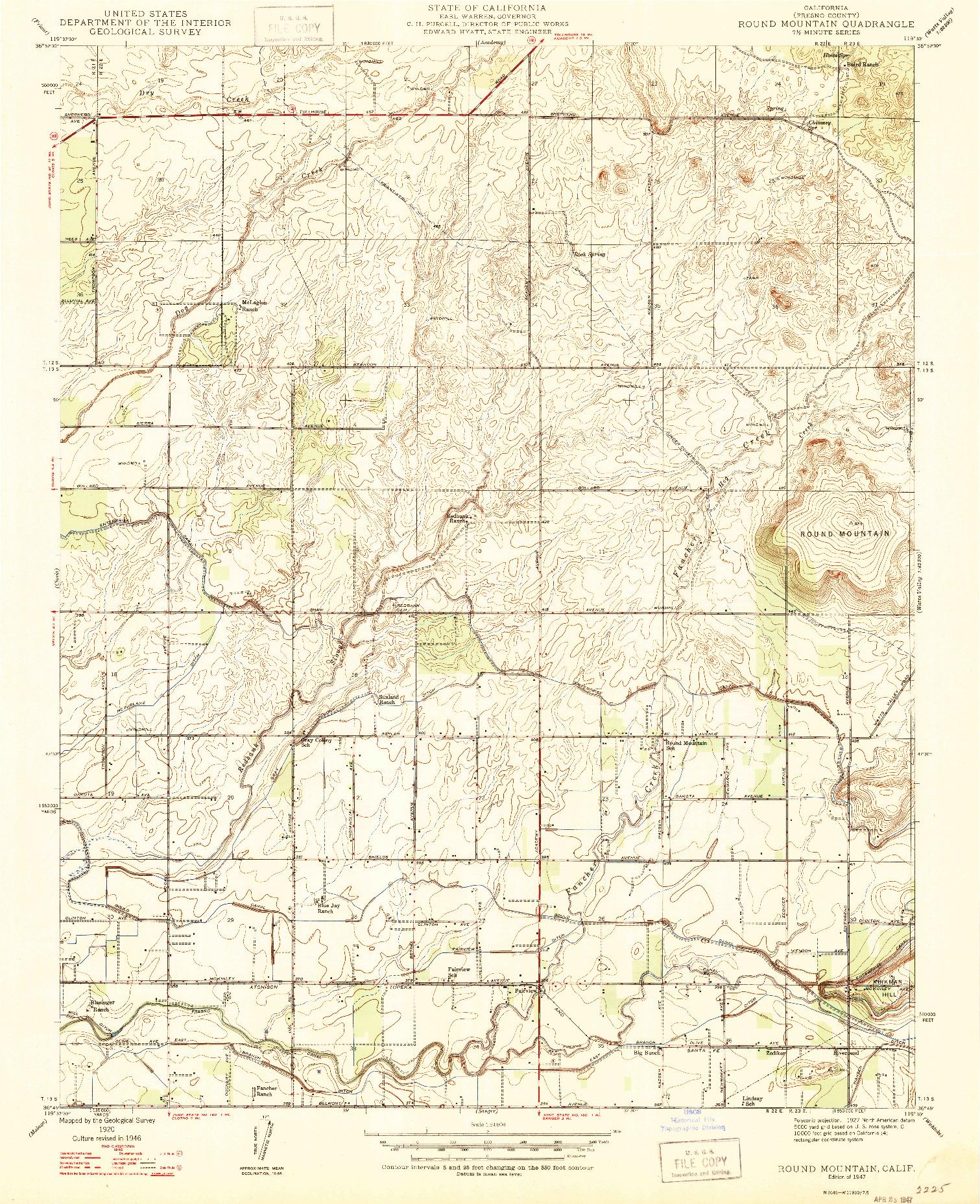 USGS 1:24000-SCALE QUADRANGLE FOR ROUND MOUNTAIN, CA 1947
