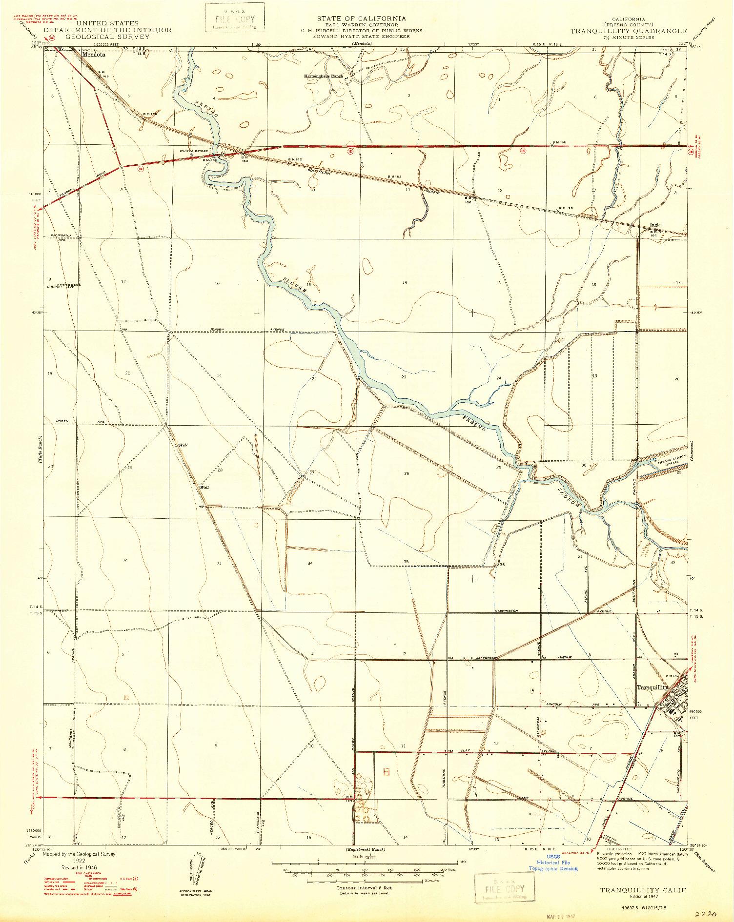 USGS 1:24000-SCALE QUADRANGLE FOR TRANQUILLITY, CA 1947