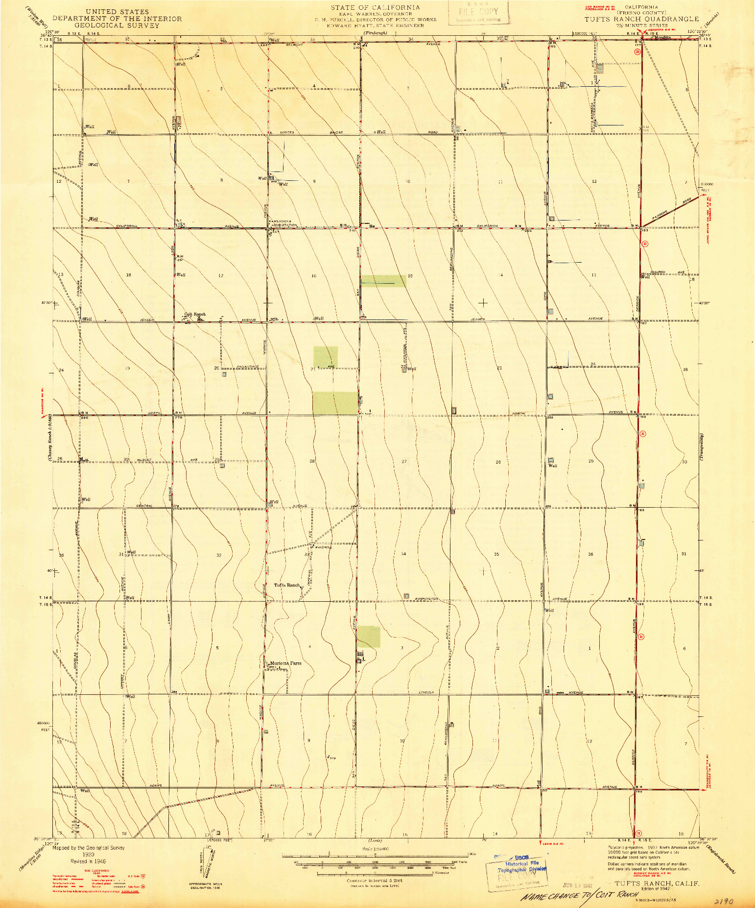 USGS 1:24000-SCALE QUADRANGLE FOR TUFTS RANCH, CA 1947