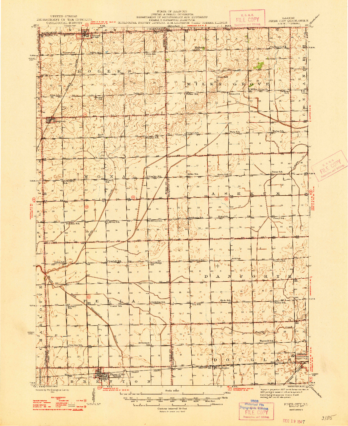USGS 1:62500-SCALE QUADRANGLE FOR PIPER CITY, IL 1947