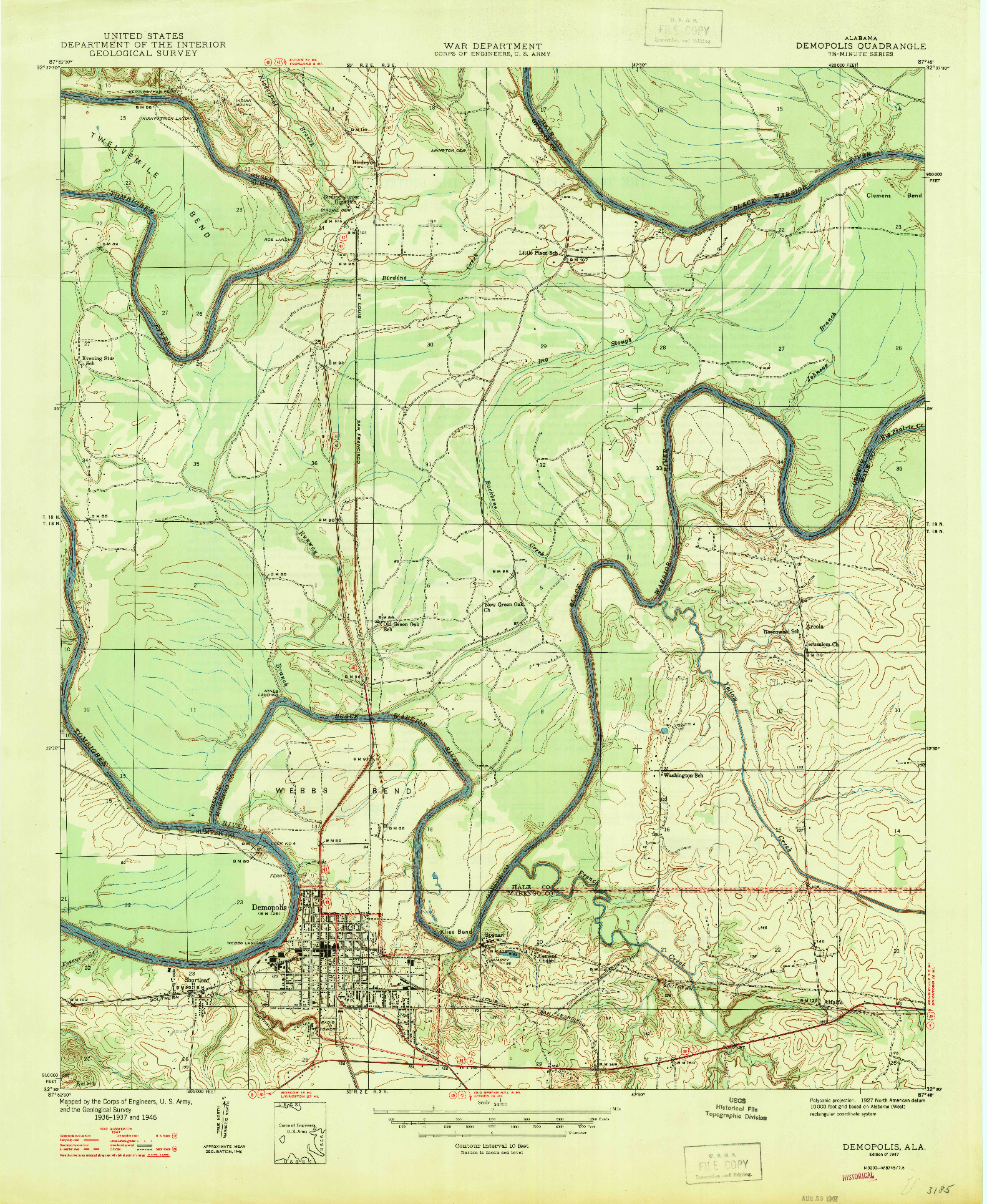 USGS 1:24000-SCALE QUADRANGLE FOR DEMOPOLIS, AL 1947
