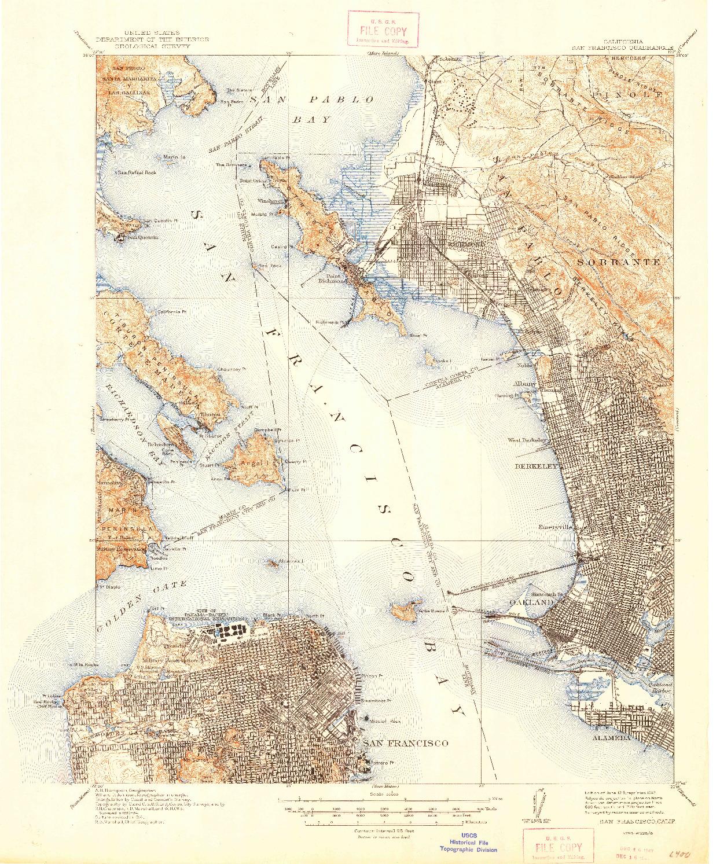 USGS 1:62500-SCALE QUADRANGLE FOR SAN FRANCISCO, CA 1915