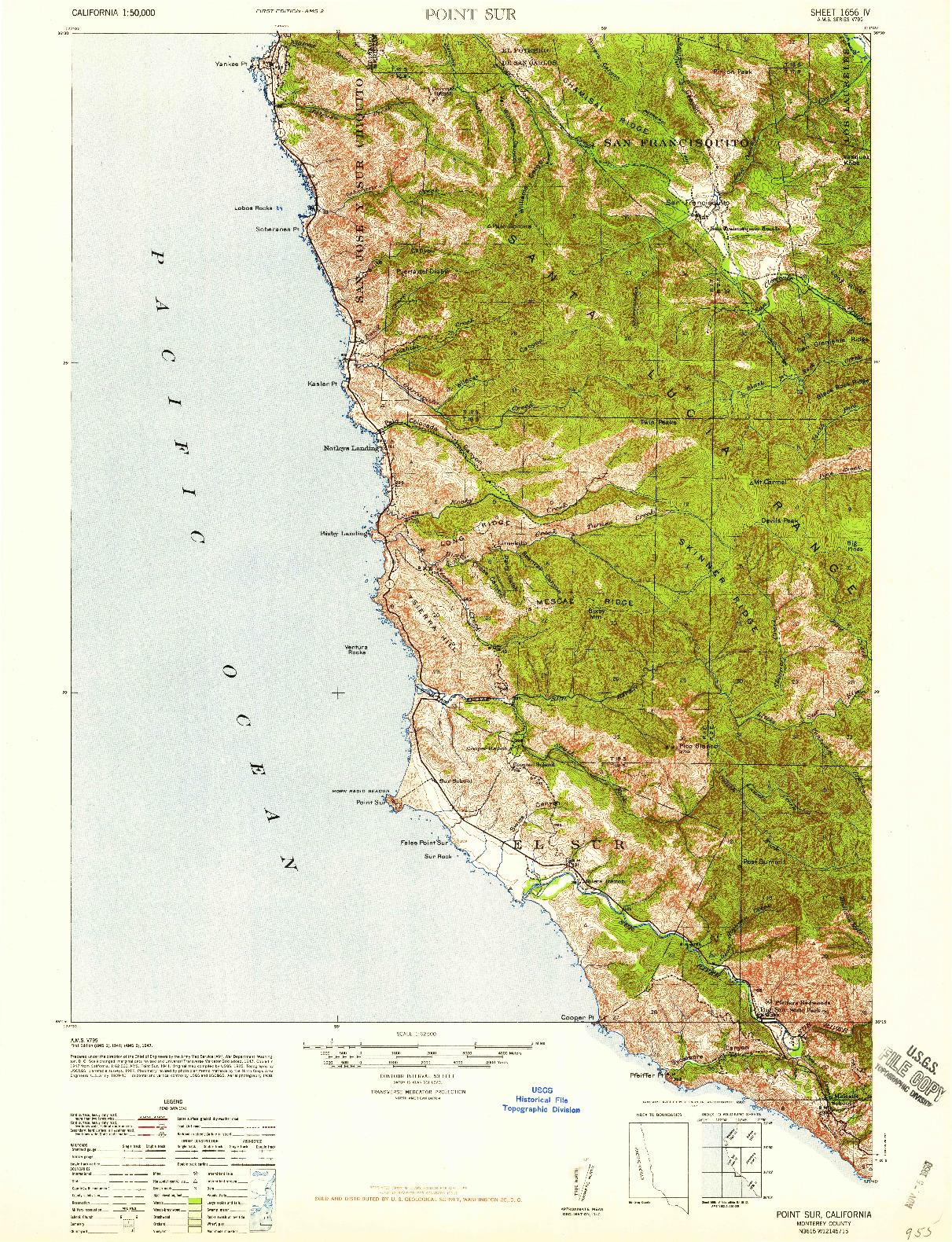 USGS 1:62500-SCALE QUADRANGLE FOR POINT SUR, CA 1947