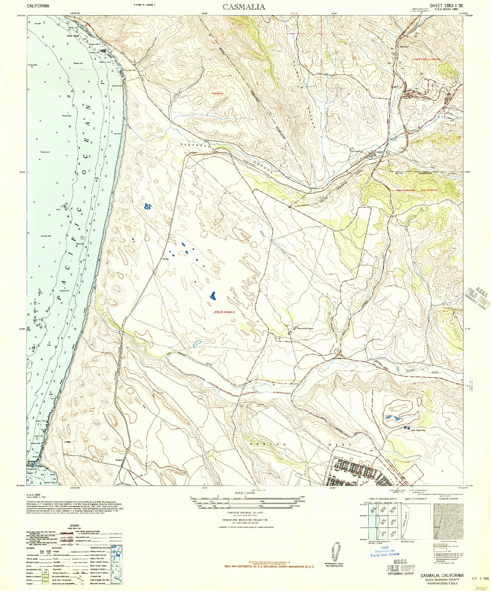 USGS 1:24000-SCALE QUADRANGLE FOR CASMALIA, CA 1947
