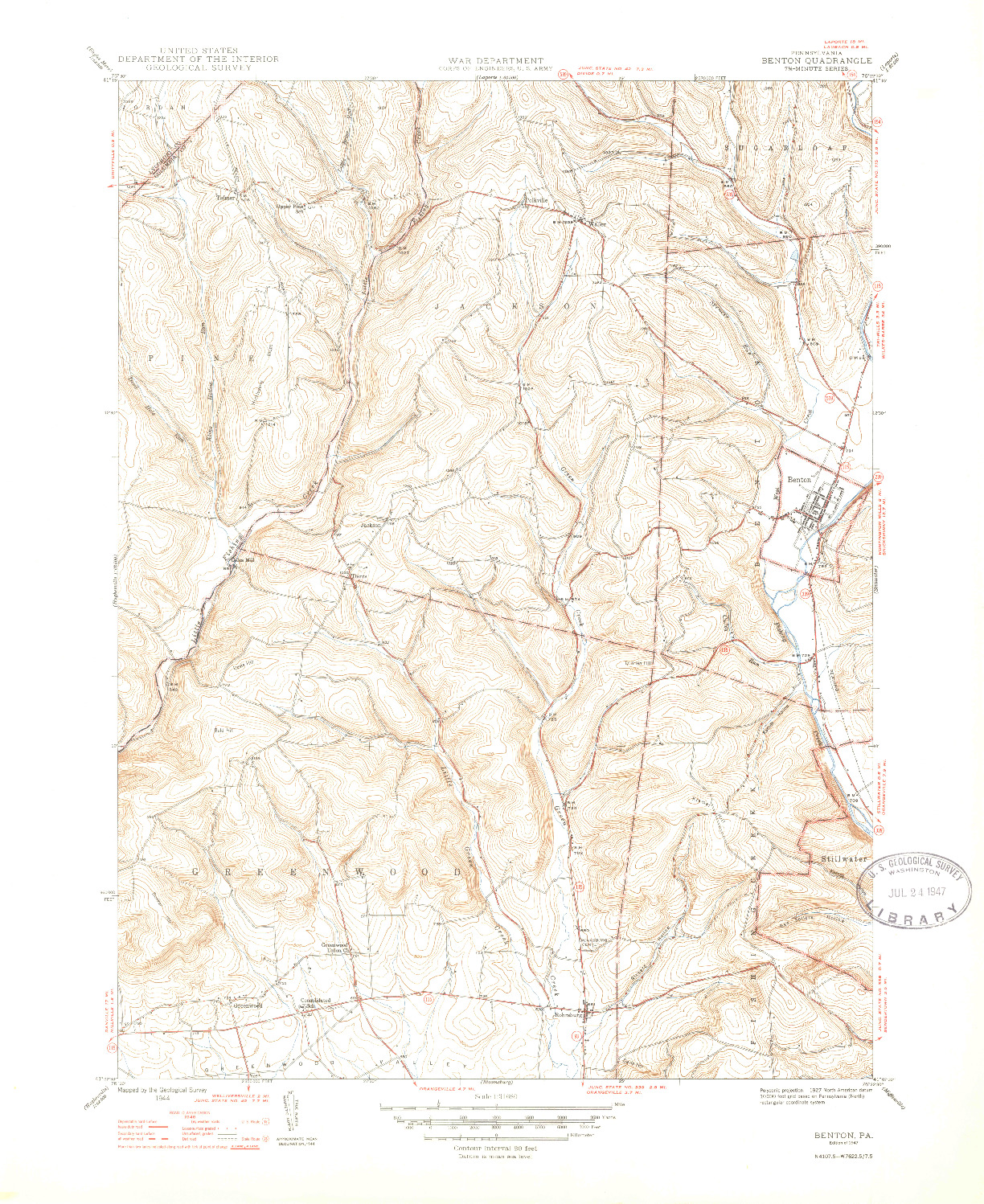 USGS 1:31680-SCALE QUADRANGLE FOR BENTON, PA 1947