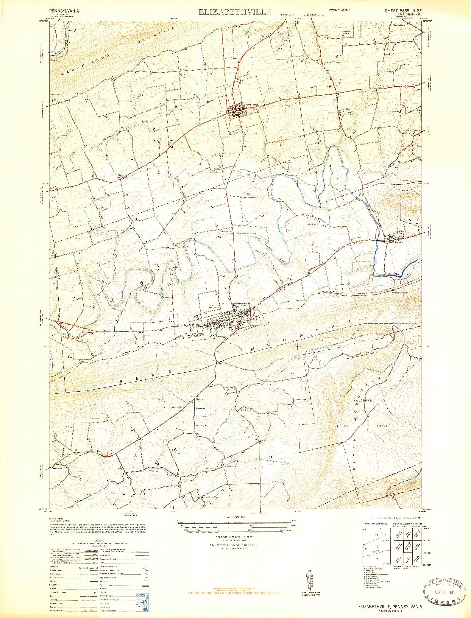 USGS 1:24000-SCALE QUADRANGLE FOR ELIZABETHVILLE, PA 1947