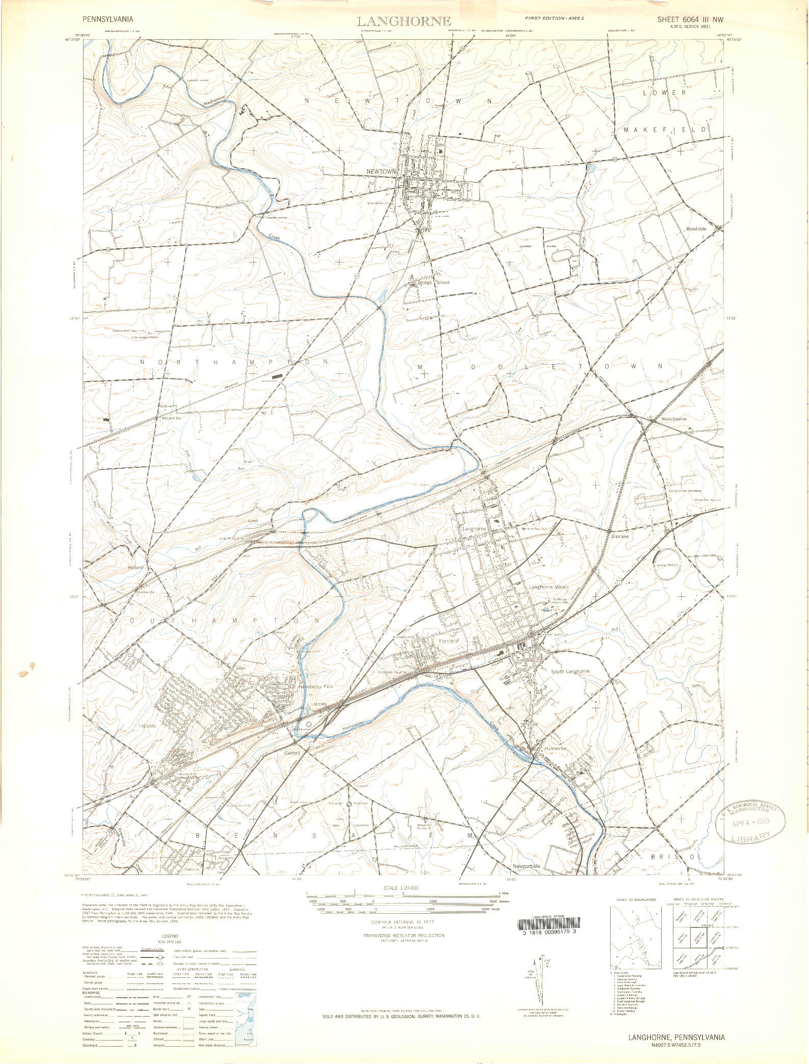 USGS 1:24000-SCALE QUADRANGLE FOR LANGHORNE, PA 1944
