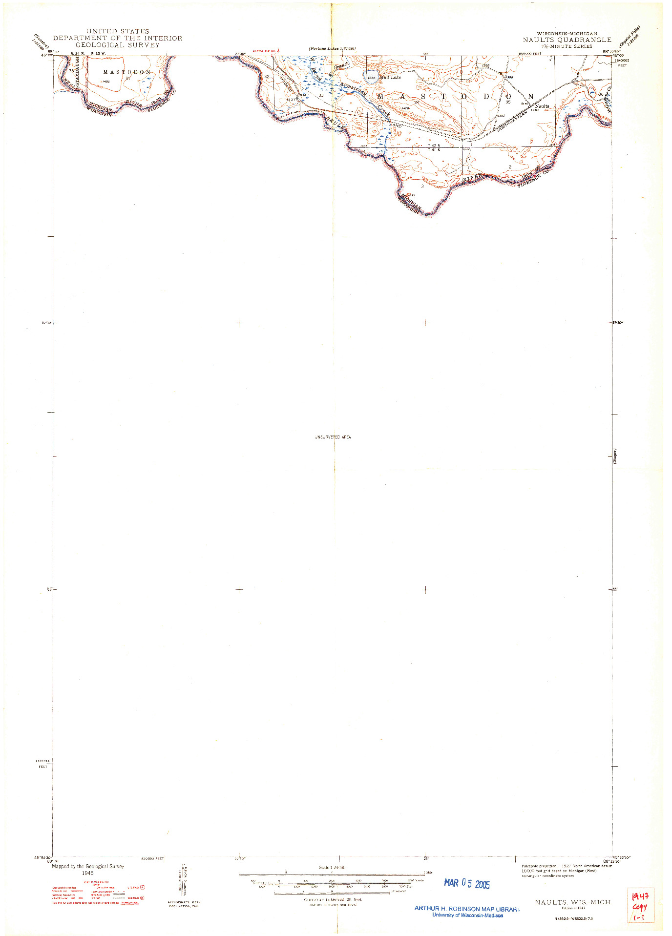 USGS 1:24000-SCALE QUADRANGLE FOR NAULTS, WI 1947