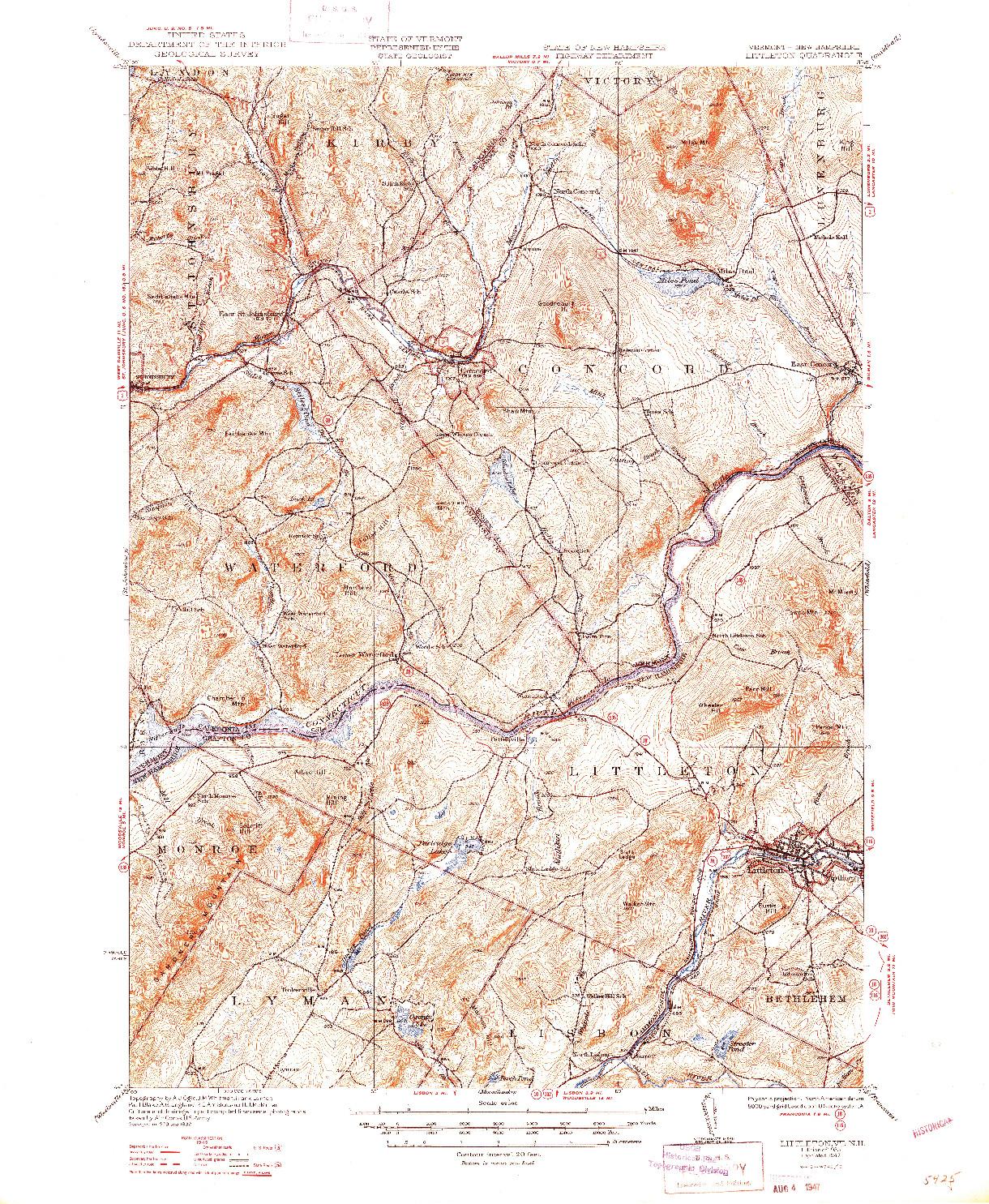 USGS 1:62500-SCALE QUADRANGLE FOR LITTLETON, VT 1935
