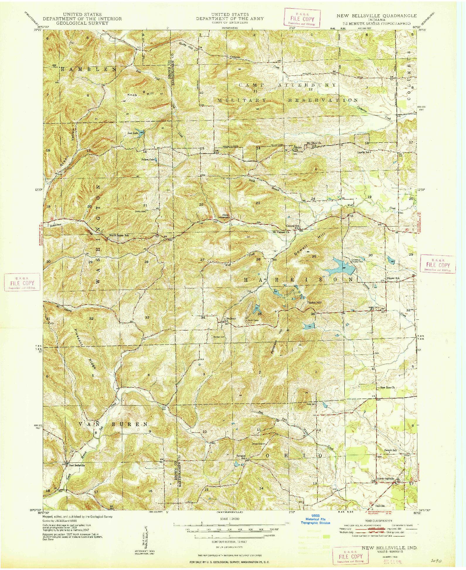 USGS 1:24000-SCALE QUADRANGLE FOR NEW BELLSVILLE, IN 1948