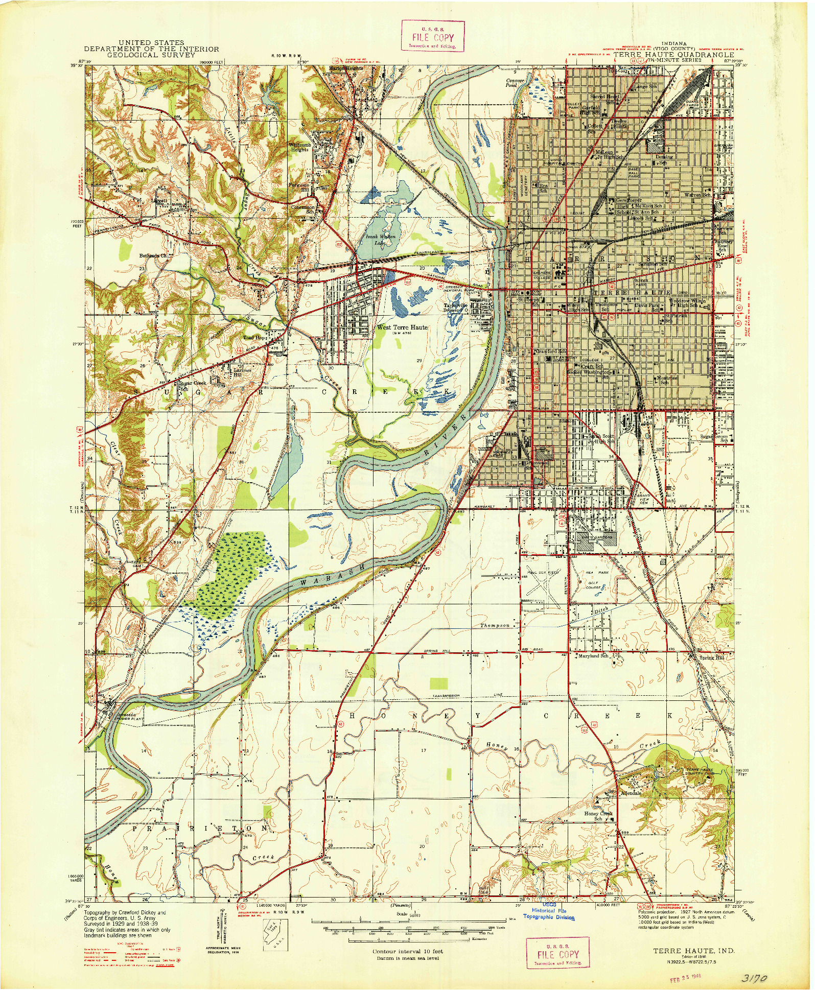 USGS 1:24000-SCALE QUADRANGLE FOR TERRE HAUTE, IN 1948