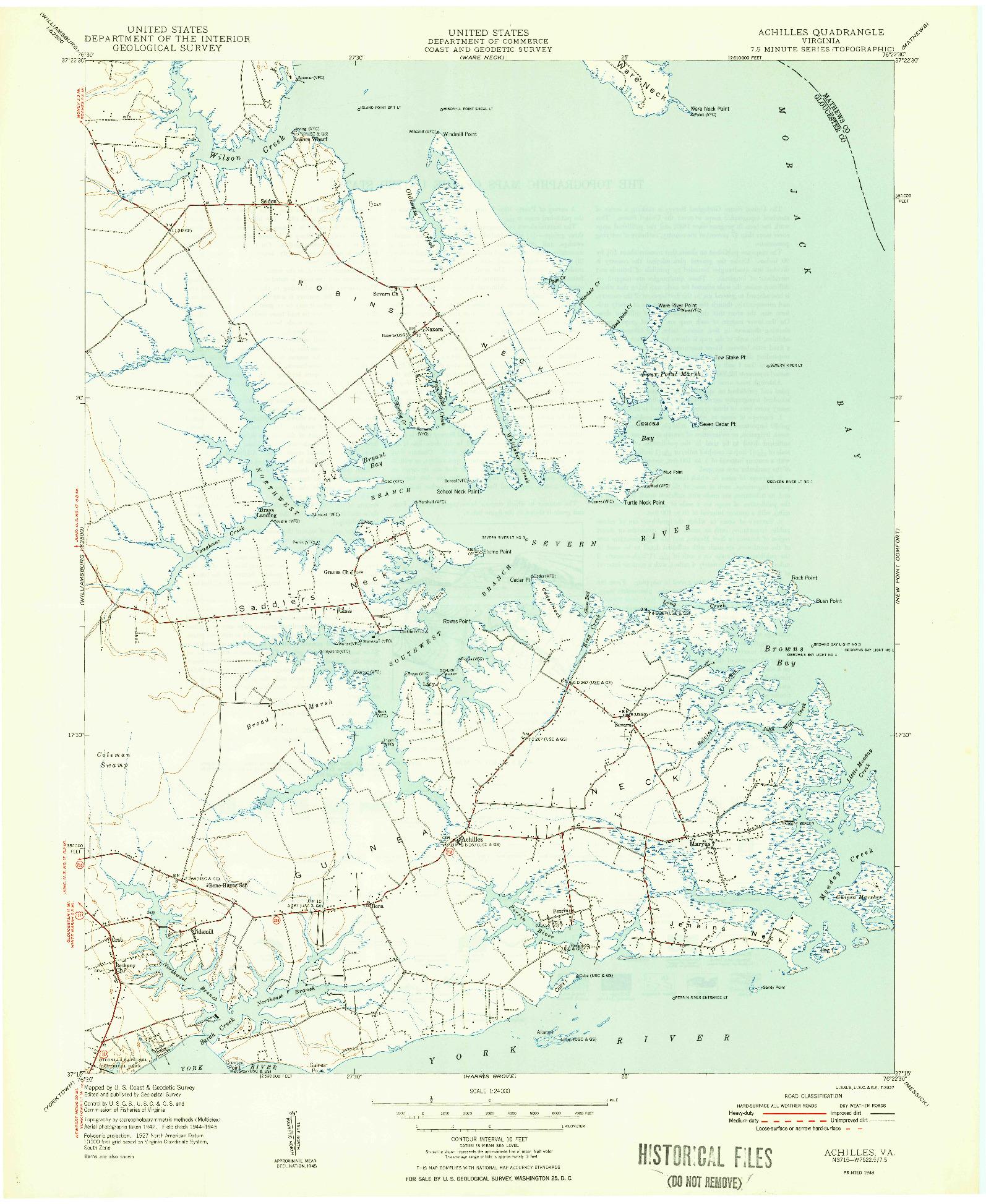 USGS 1:24000-SCALE QUADRANGLE FOR ACHILLES, VA 1948
