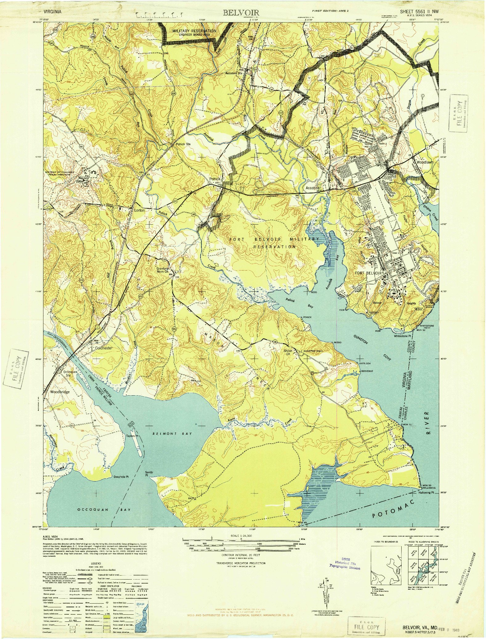 USGS 1:24000-SCALE QUADRANGLE FOR BELVOIR, VA 1948