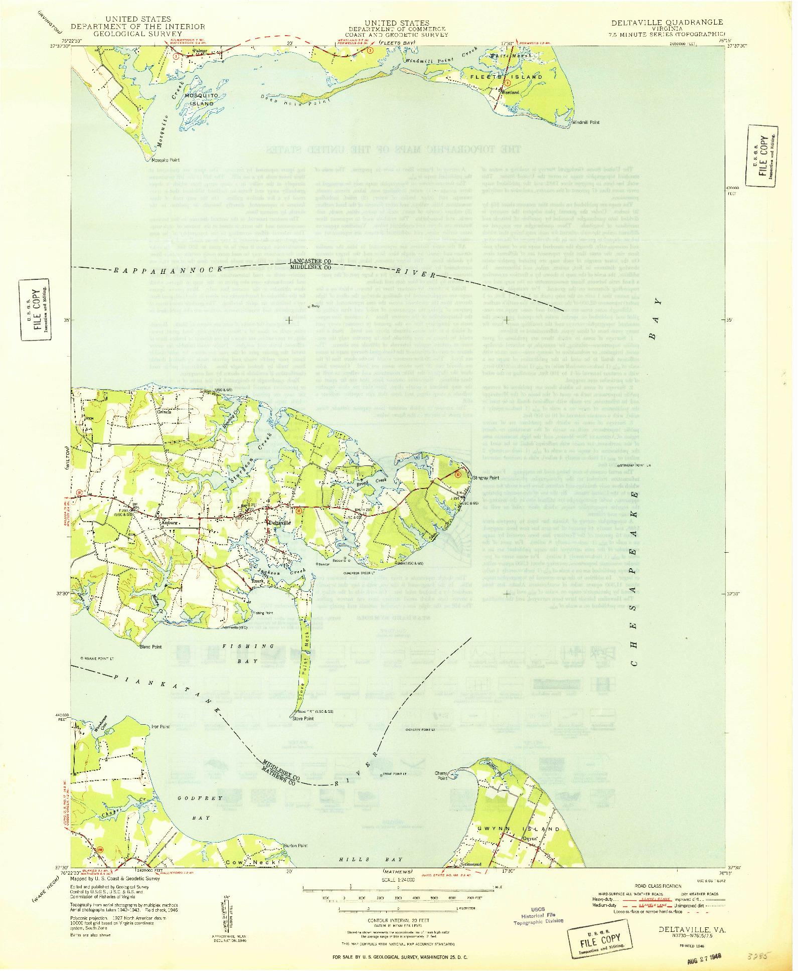 USGS 1:24000-SCALE QUADRANGLE FOR DELTAVILLE, VA 1948