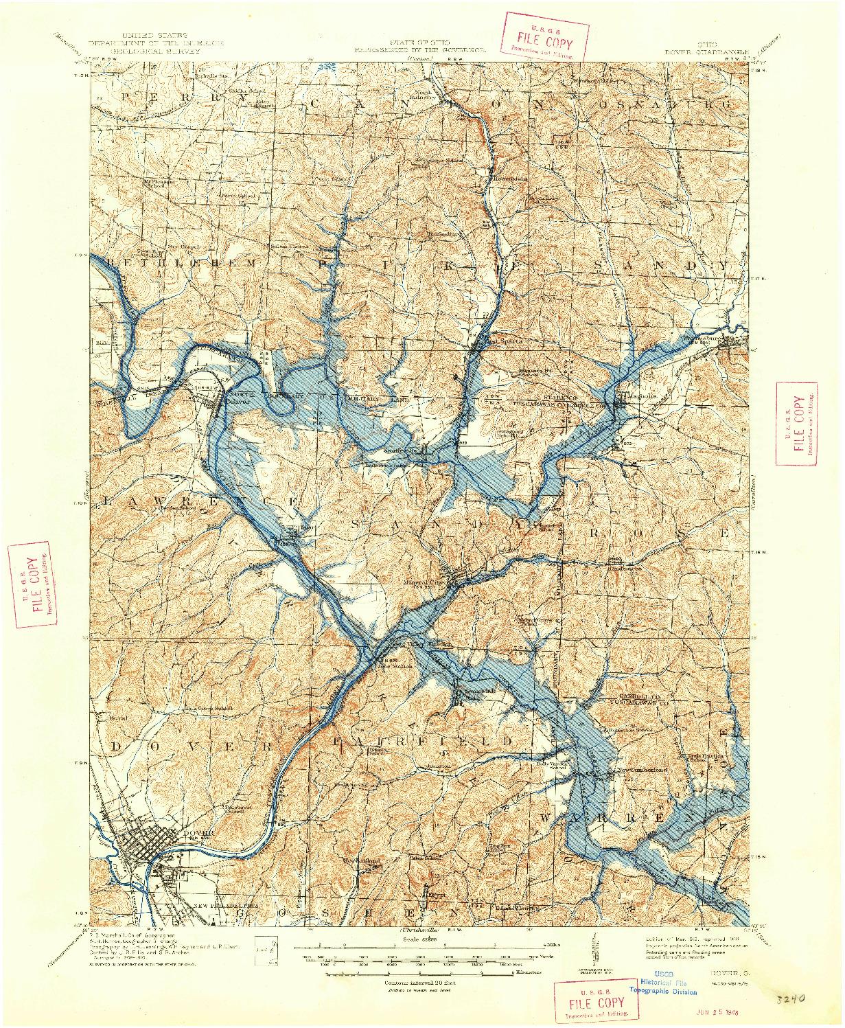 USGS 1:62500-SCALE QUADRANGLE FOR DOVER, OH 1912