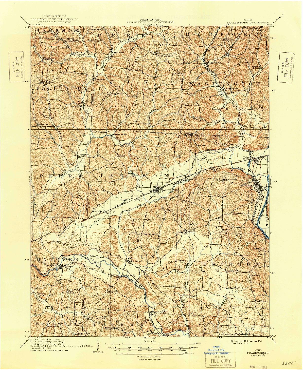 USGS 1:62500-SCALE QUADRANGLE FOR FRAZEYSBURG, OH 1910