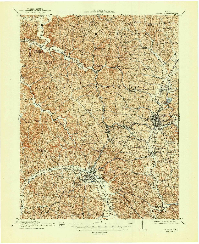 USGS 1:62500-SCALE QUADRANGLE FOR JACKSON, OH 1913