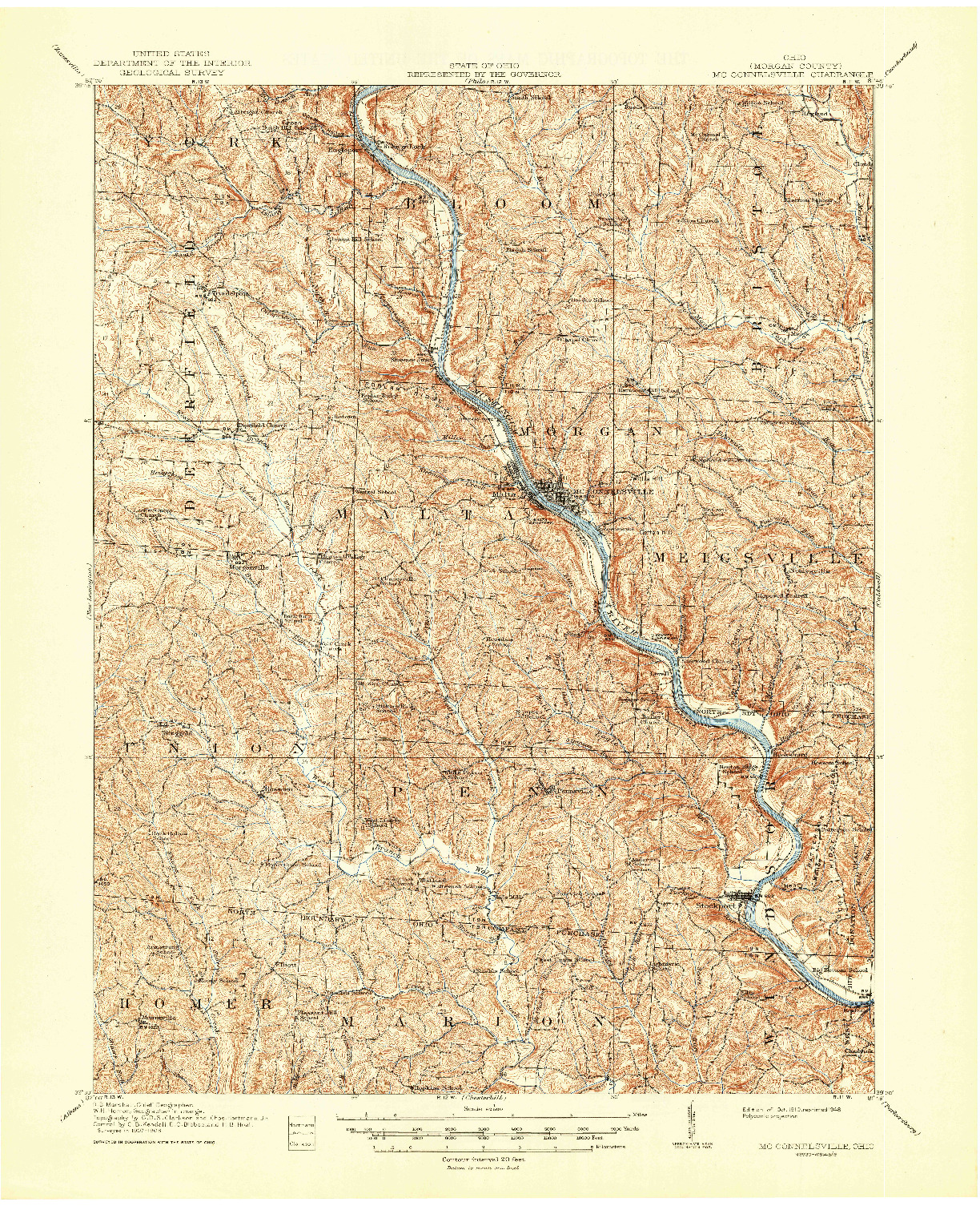 USGS 1:62500-SCALE QUADRANGLE FOR MC CONNELSVILLE, OH 1910