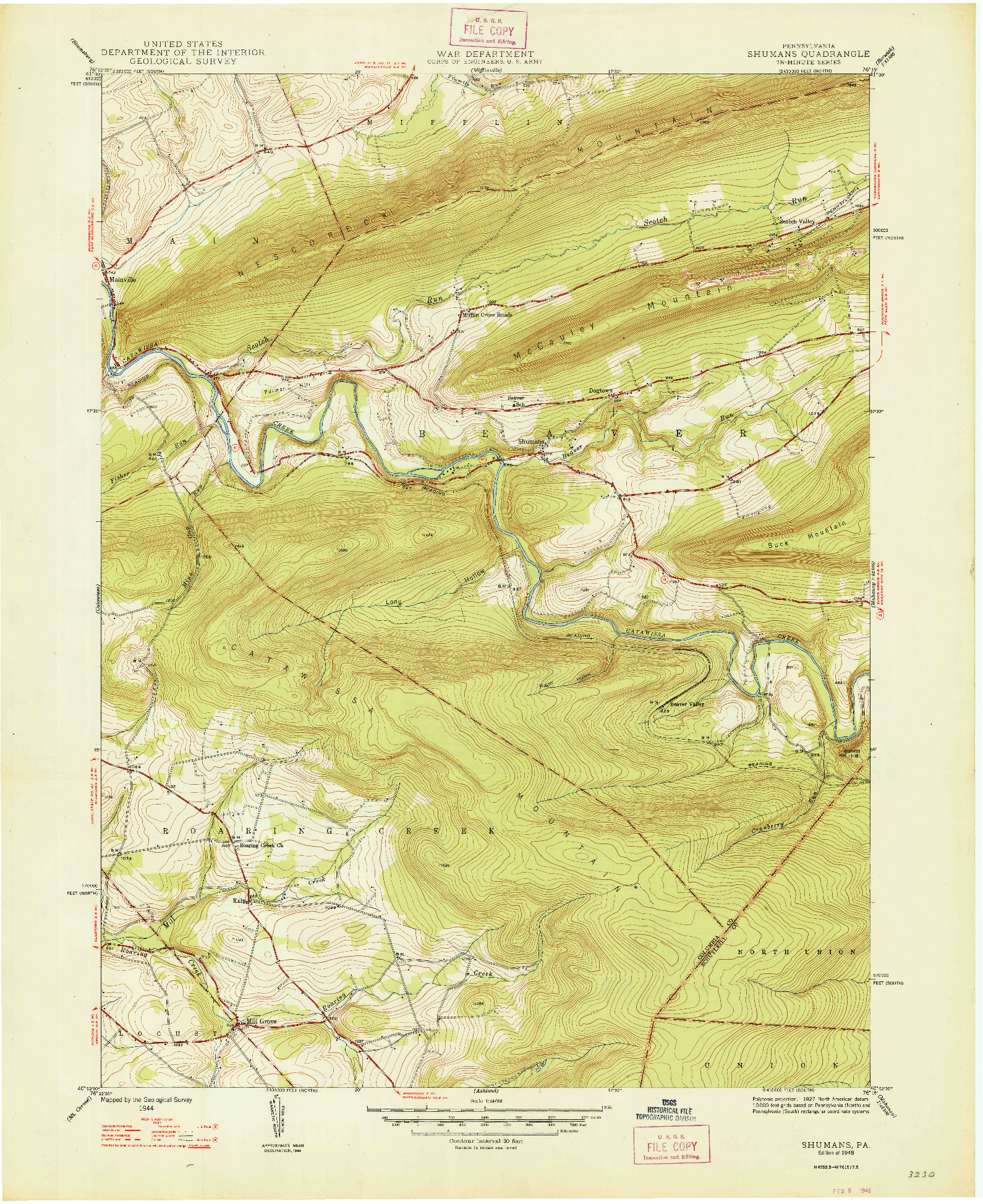 USGS 1:24000-SCALE QUADRANGLE FOR SHUMANS, PA 1948