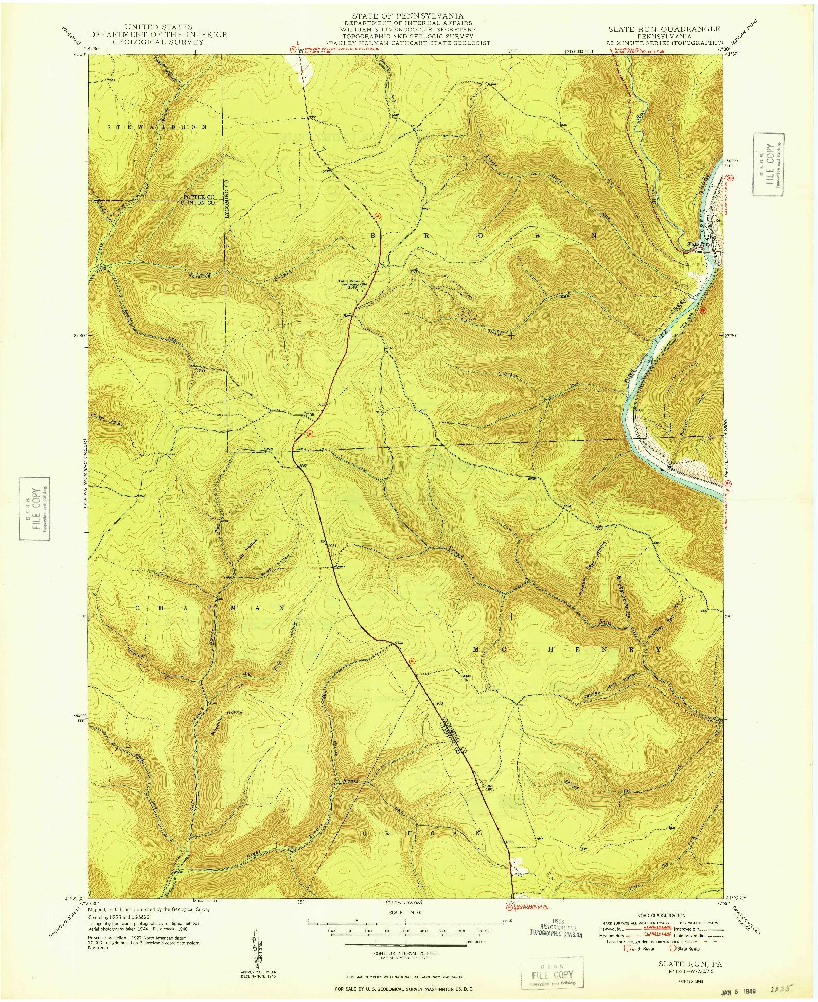 USGS 1:24000-SCALE QUADRANGLE FOR SLATE RUN, PA 1948