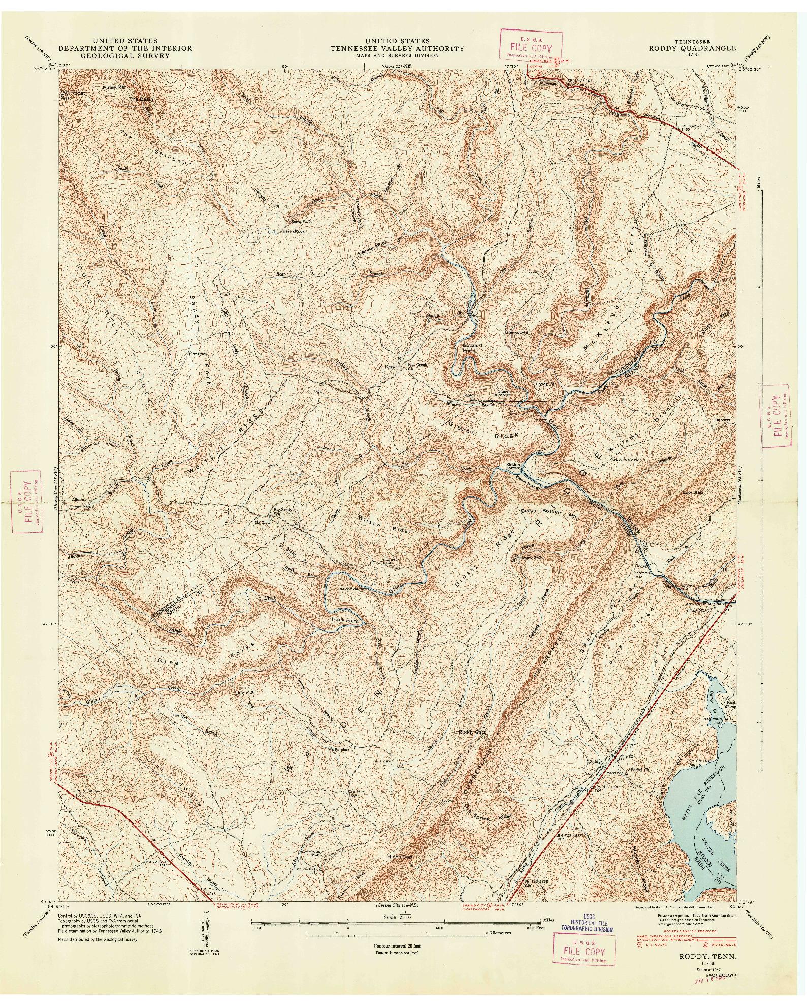 USGS 1:24000-SCALE QUADRANGLE FOR RODDY, TN 1947