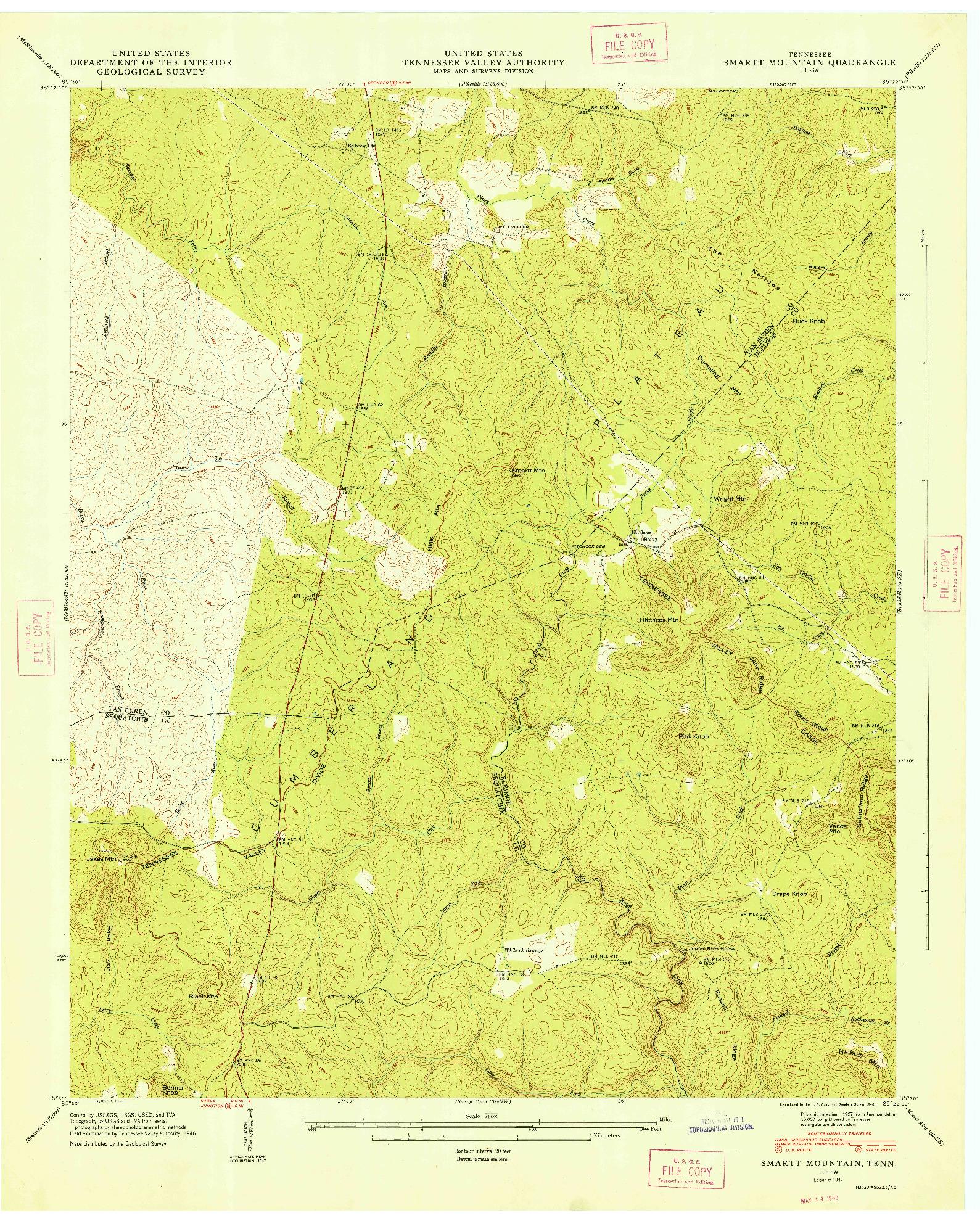 USGS 1:24000-SCALE QUADRANGLE FOR SMARTT MOUNTAIN, TN 1947