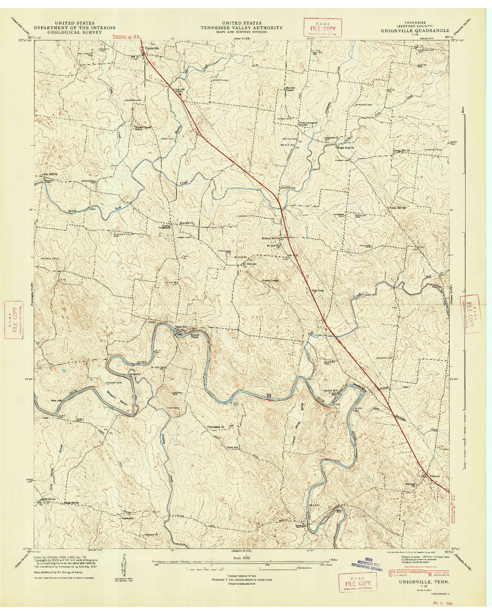 USGS 1:24000-SCALE QUADRANGLE FOR UNIONVILLE, TN 1947