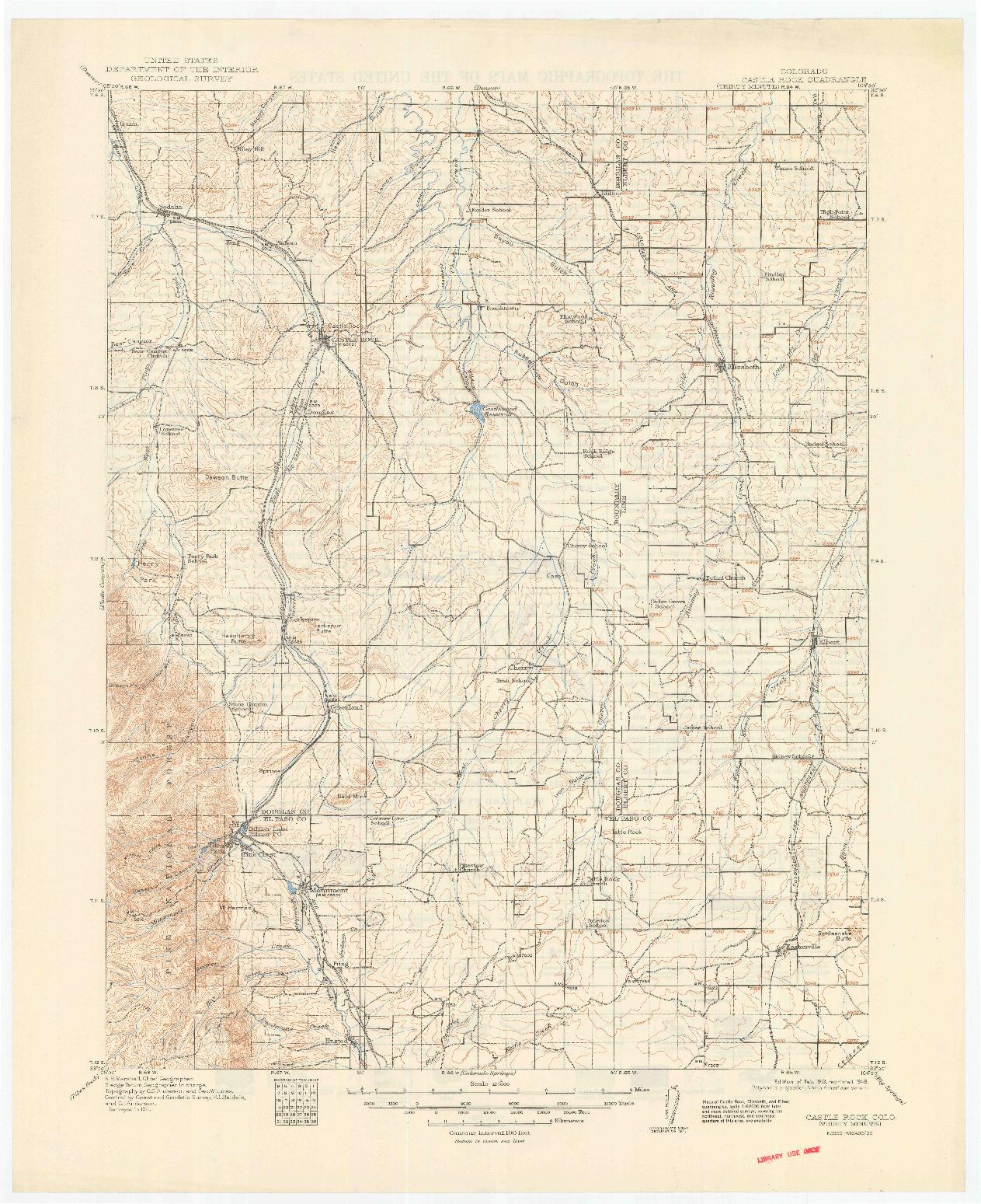 USGS 1:125000-SCALE QUADRANGLE FOR CASTLE ROCK, CO 1913