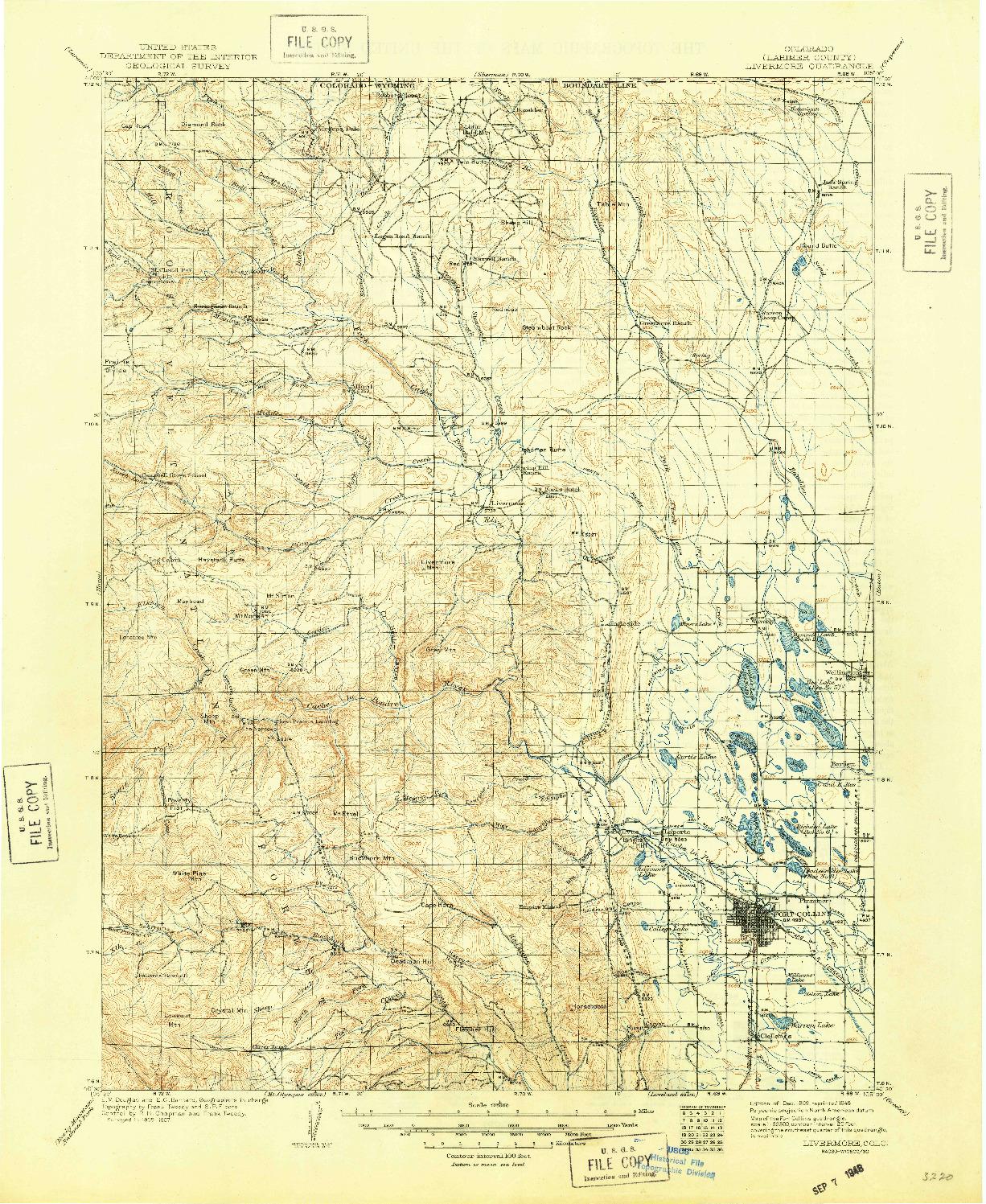 USGS 1:125000-SCALE QUADRANGLE FOR LIVERMORE, CO 1909