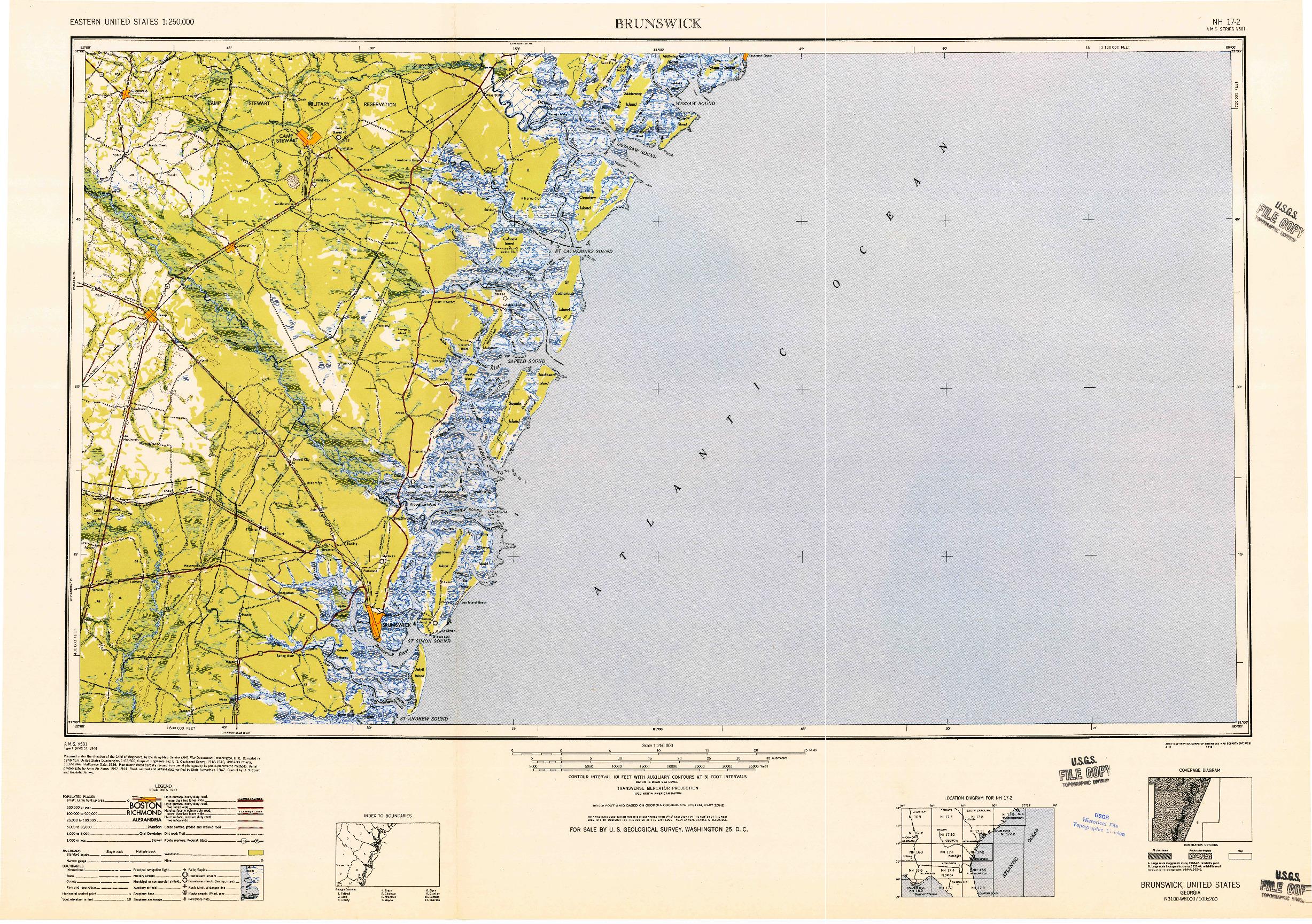 USGS 1:250000-SCALE QUADRANGLE FOR BRUNSWICK, GA 1948