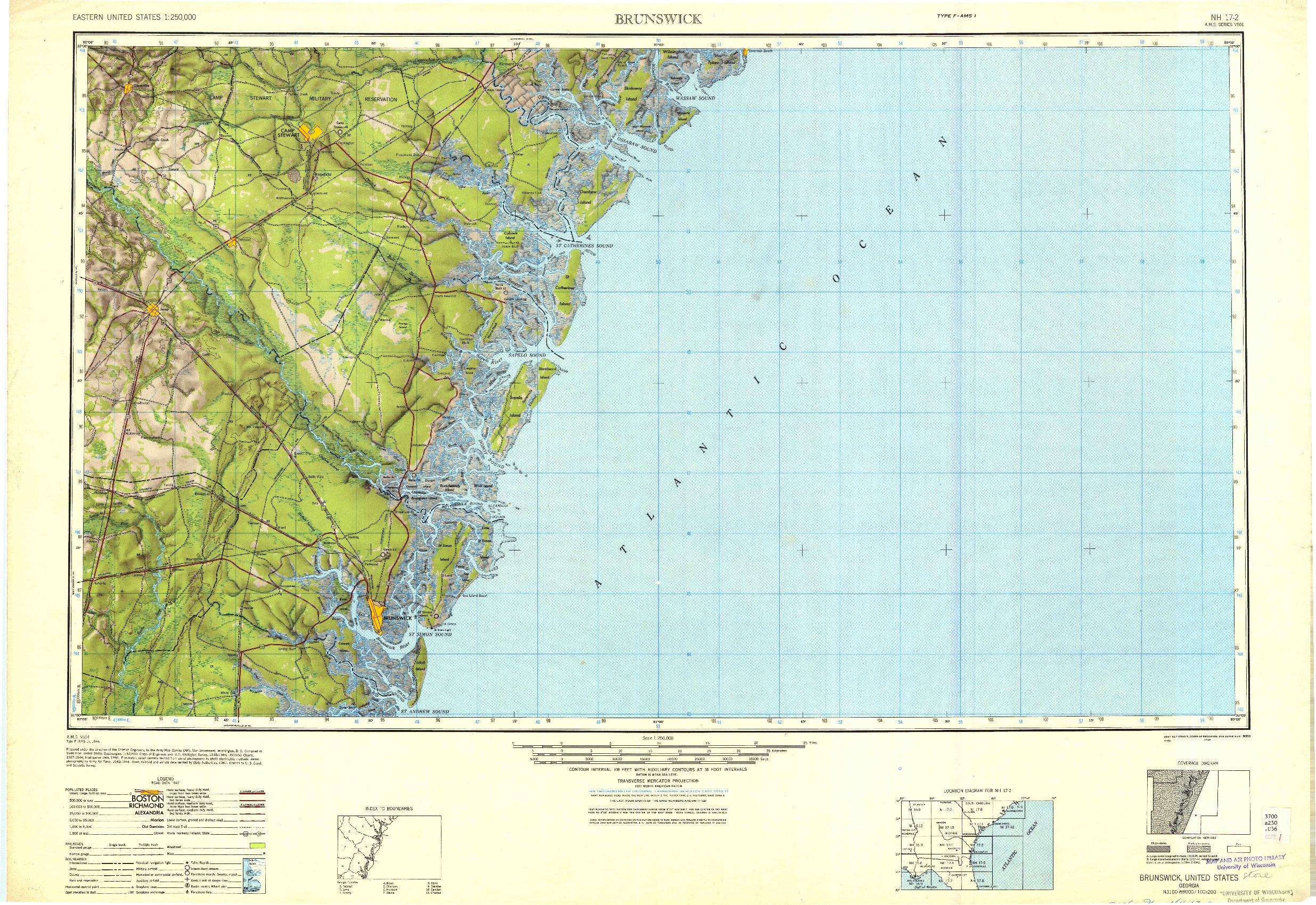 USGS 1:250000-SCALE QUADRANGLE FOR BRUNSWICK, GA 1946