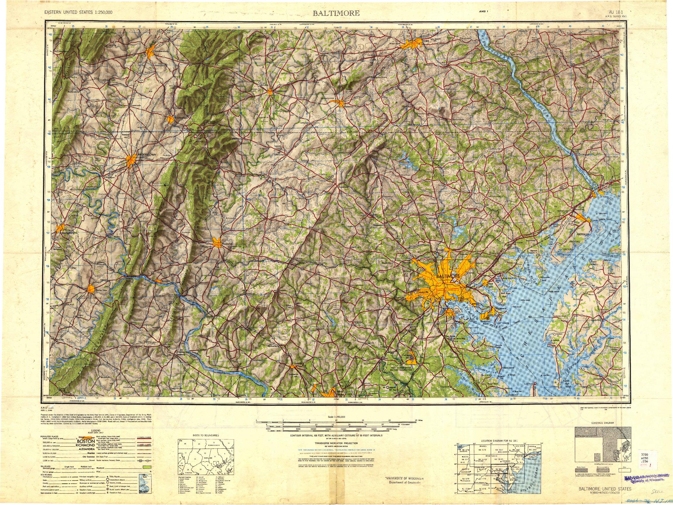 USGS 1:250000-SCALE QUADRANGLE FOR BALTIMORE, MD 1948