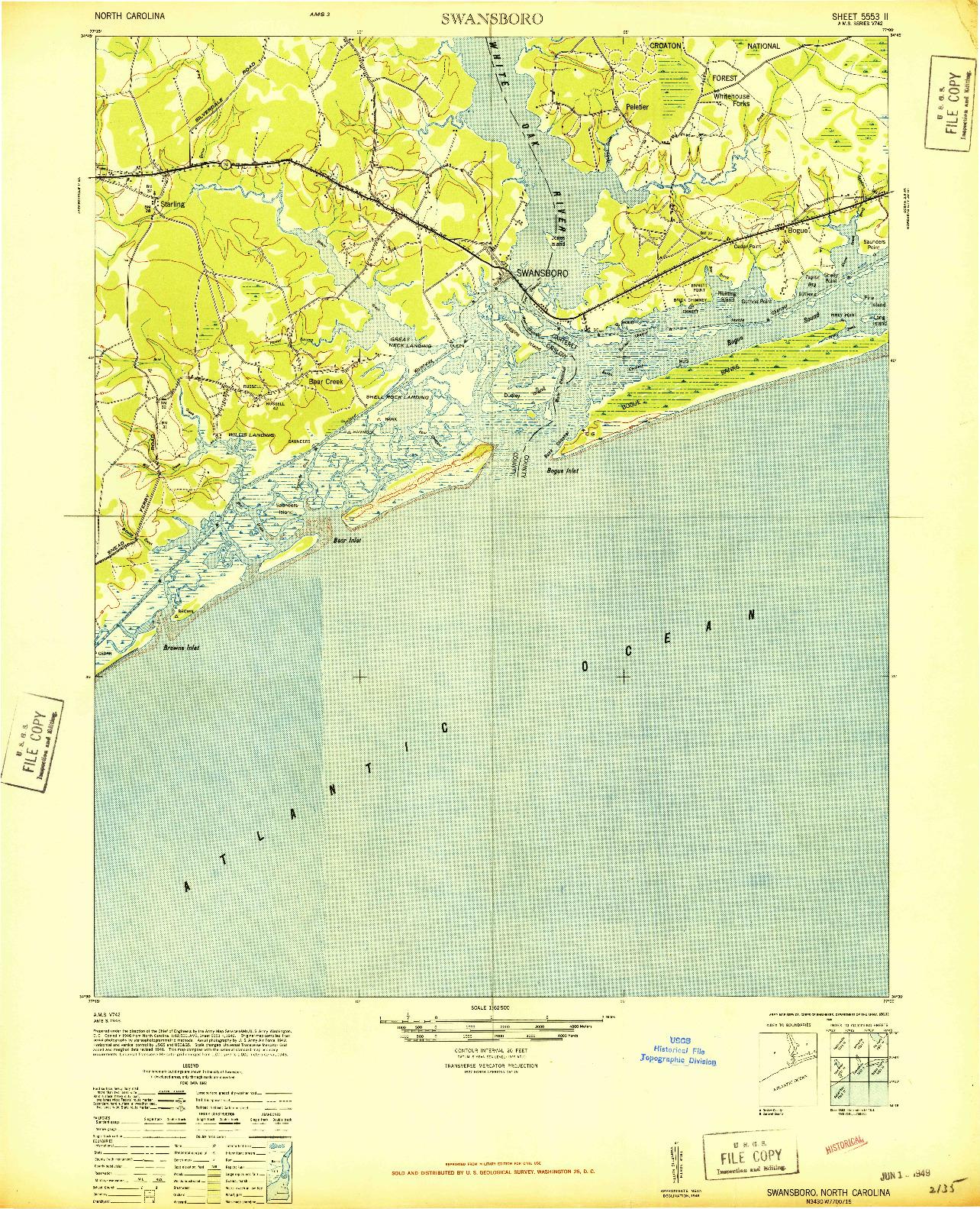 USGS 1:62500-SCALE QUADRANGLE FOR SWANSBORO, NC 1948