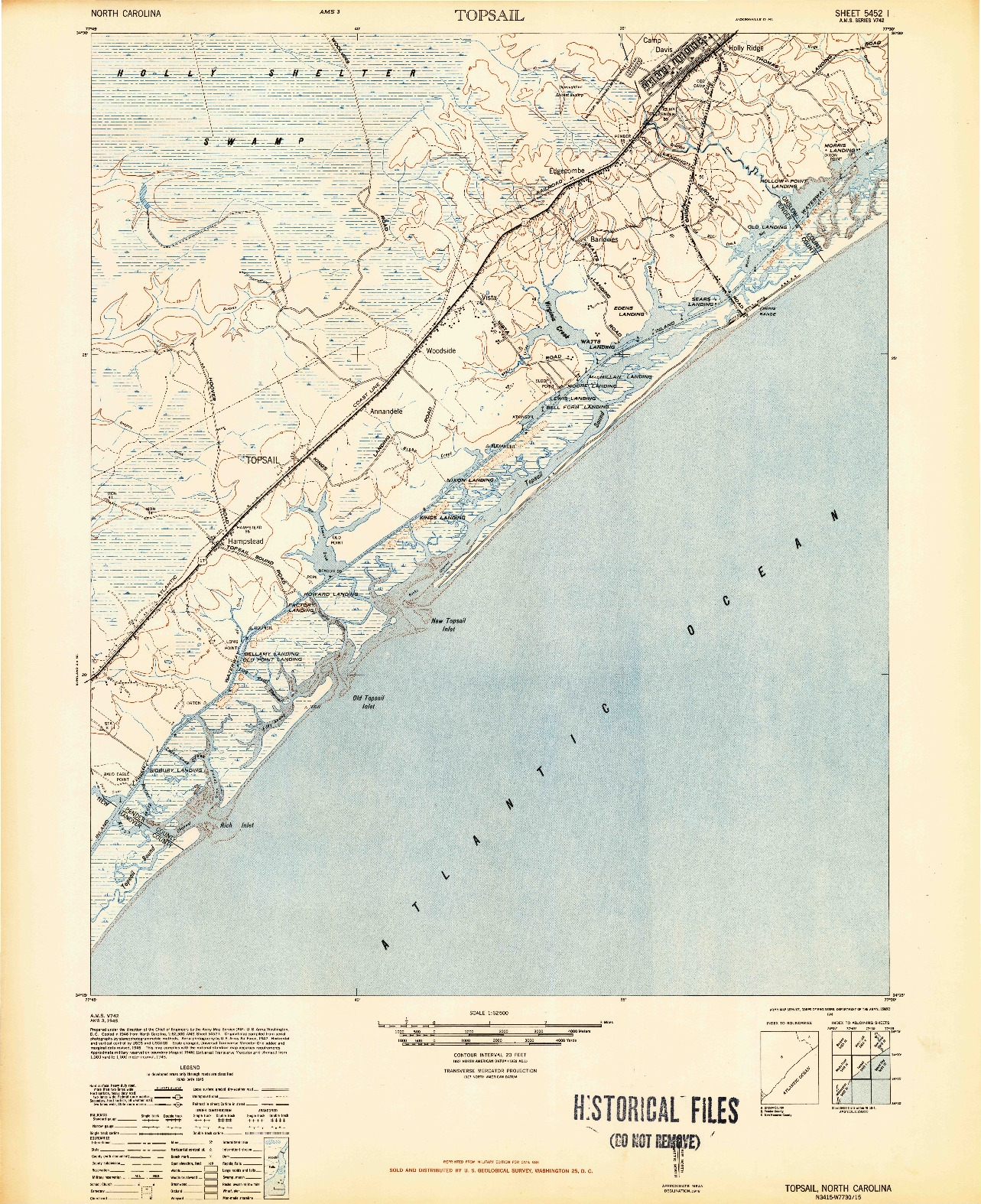 USGS 1:62500-SCALE QUADRANGLE FOR TOPSAIL, NC 1948