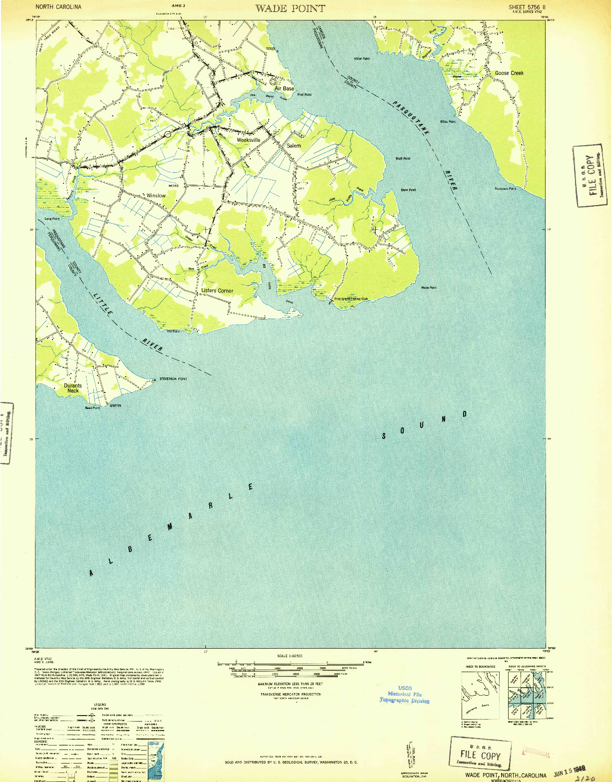 USGS 1:62500-SCALE QUADRANGLE FOR WADE POINT, NC 1948