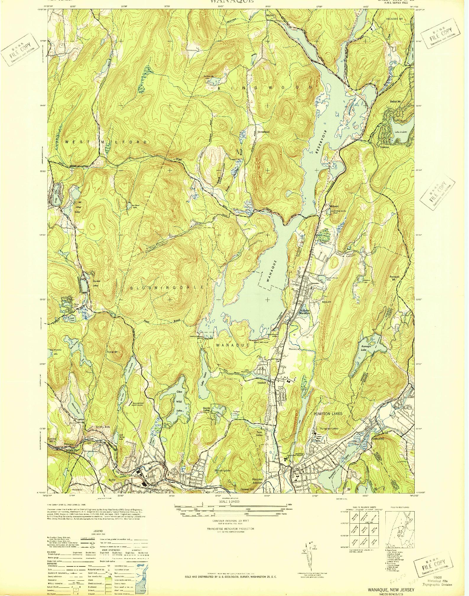 USGS 1:24000-SCALE QUADRANGLE FOR WANAQUE, NJ 1948