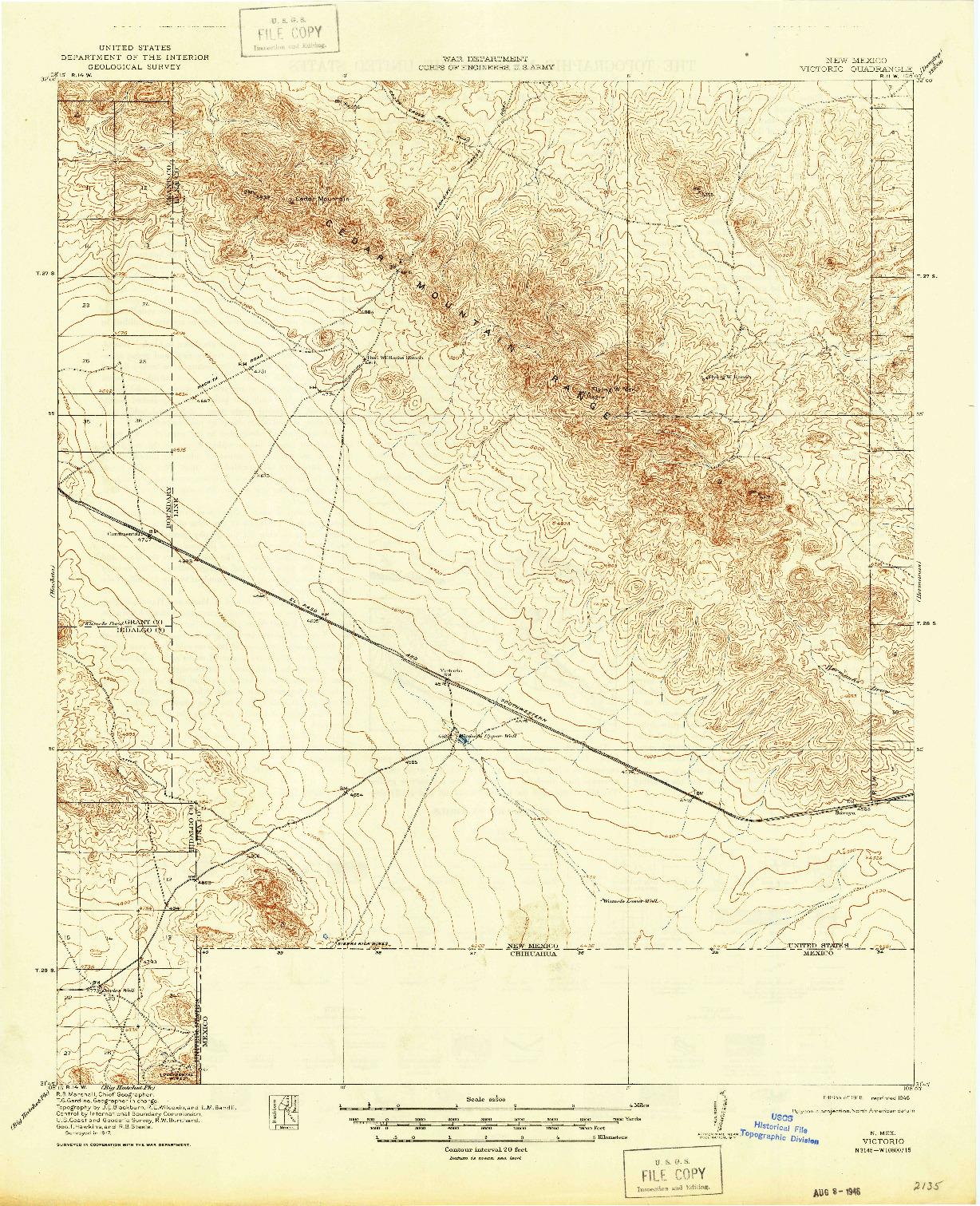 USGS 1:62500-SCALE QUADRANGLE FOR VICTORIO, NM 1918