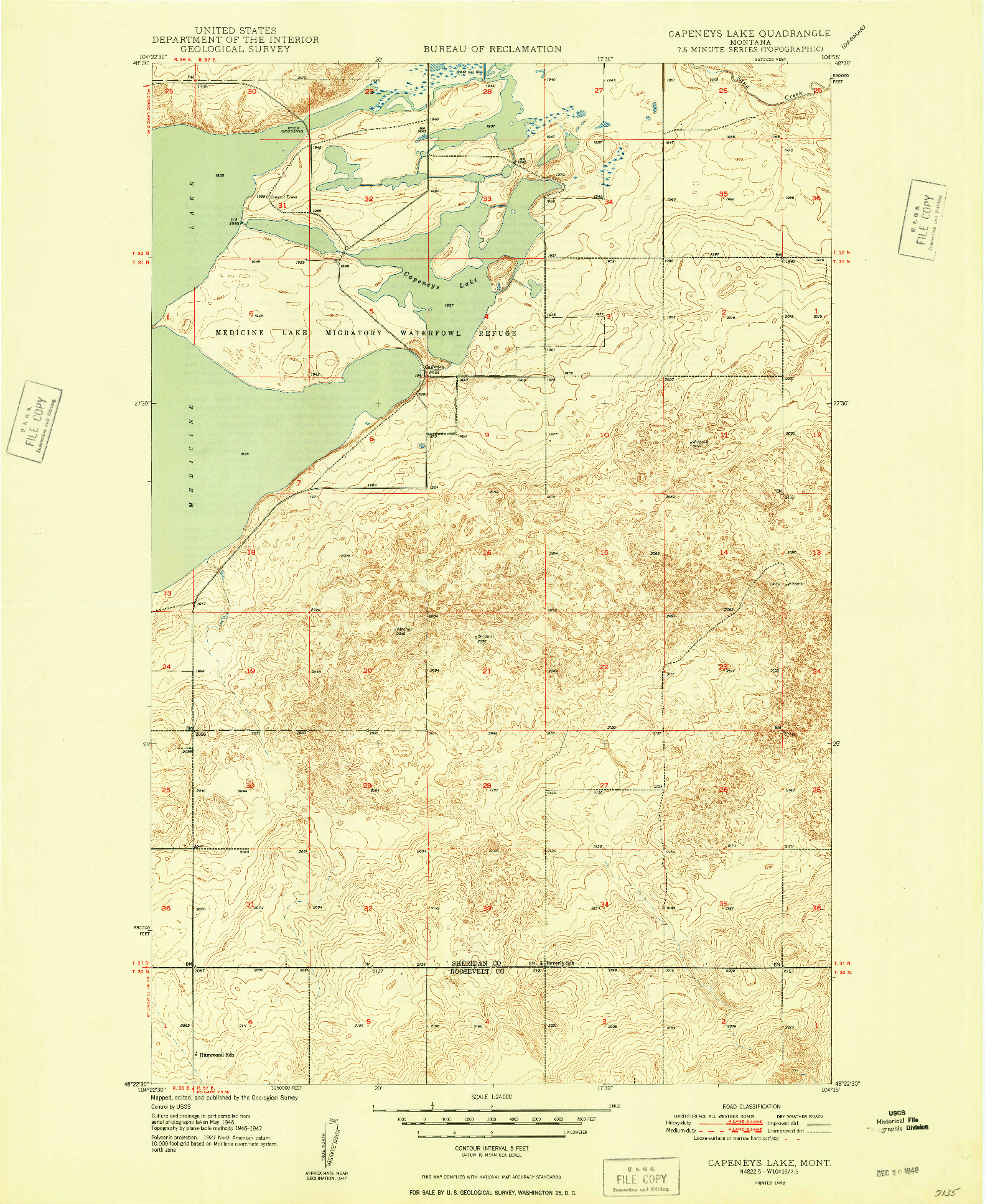 USGS 1:24000-SCALE QUADRANGLE FOR CAPENEYS LAKE, MT 1948