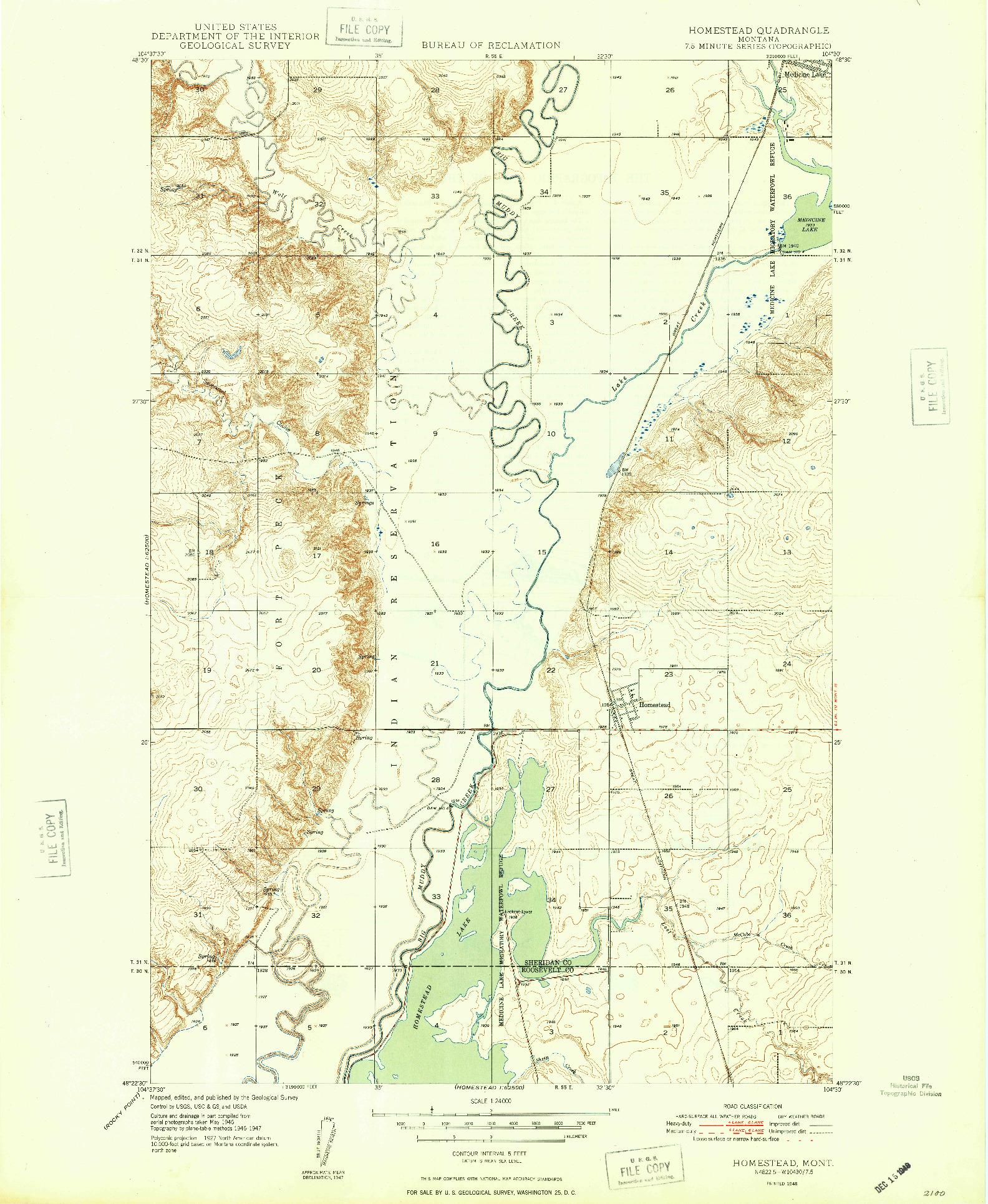 USGS 1:24000-SCALE QUADRANGLE FOR HOMESTEAD, MT 1948
