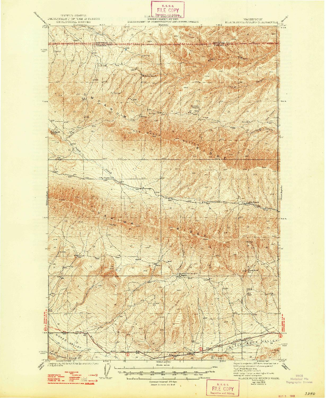 USGS 1:62500-SCALE QUADRANGLE FOR BLACK ROCK SPRING, WA 1941