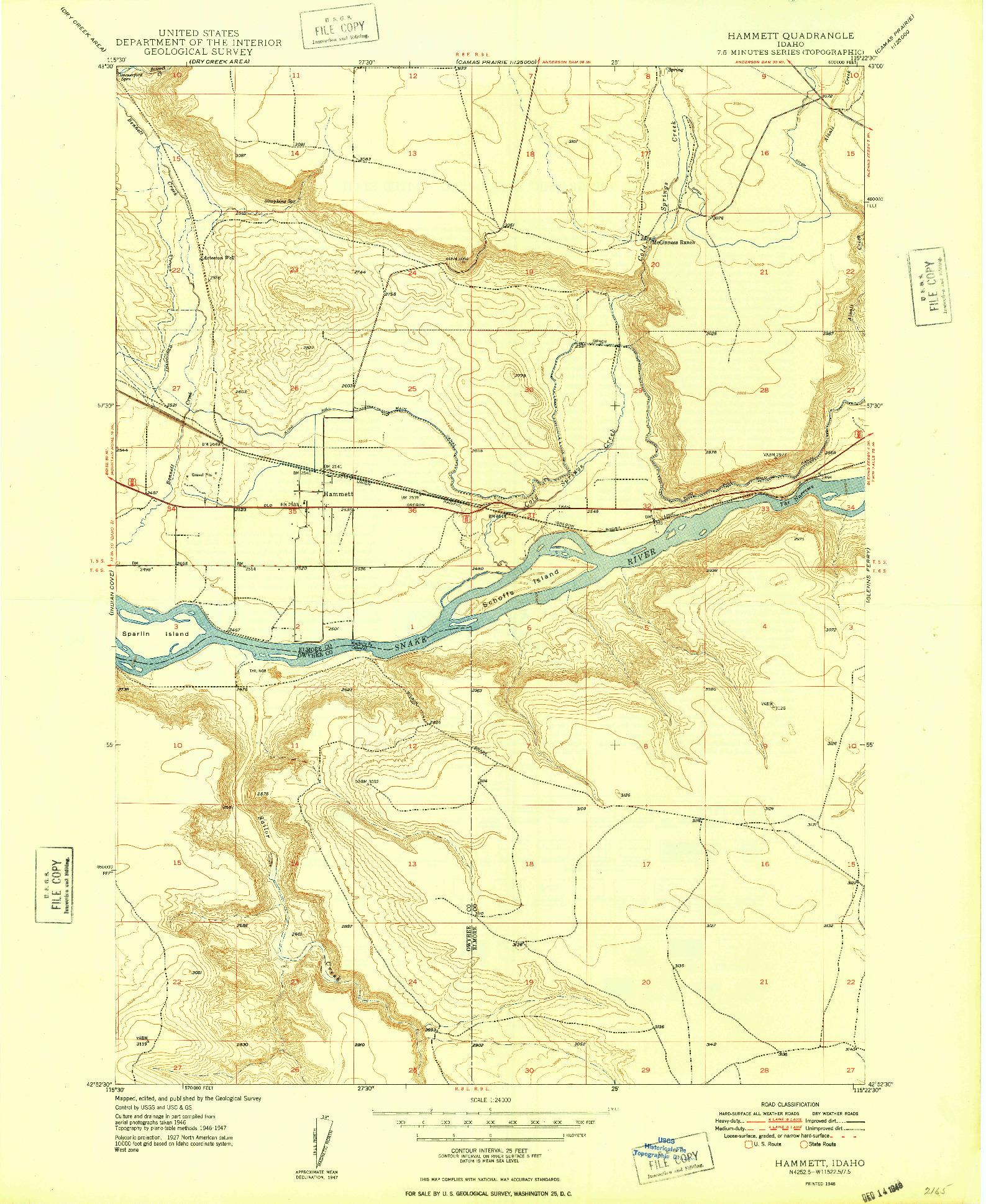 USGS 1:24000-SCALE QUADRANGLE FOR HAMMETT, ID 1948