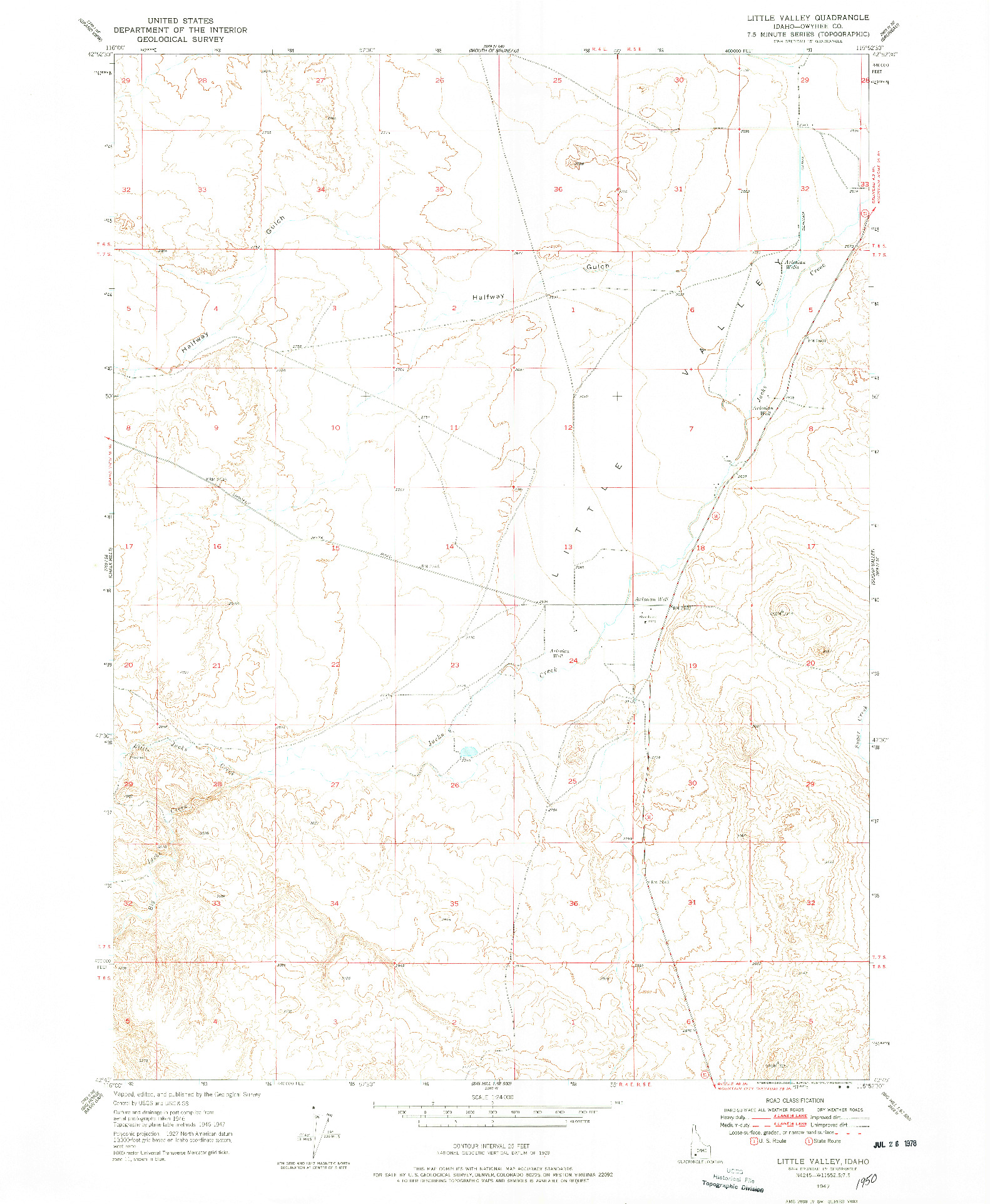 USGS 1:24000-SCALE QUADRANGLE FOR LITTLE VALLEY, ID 1947