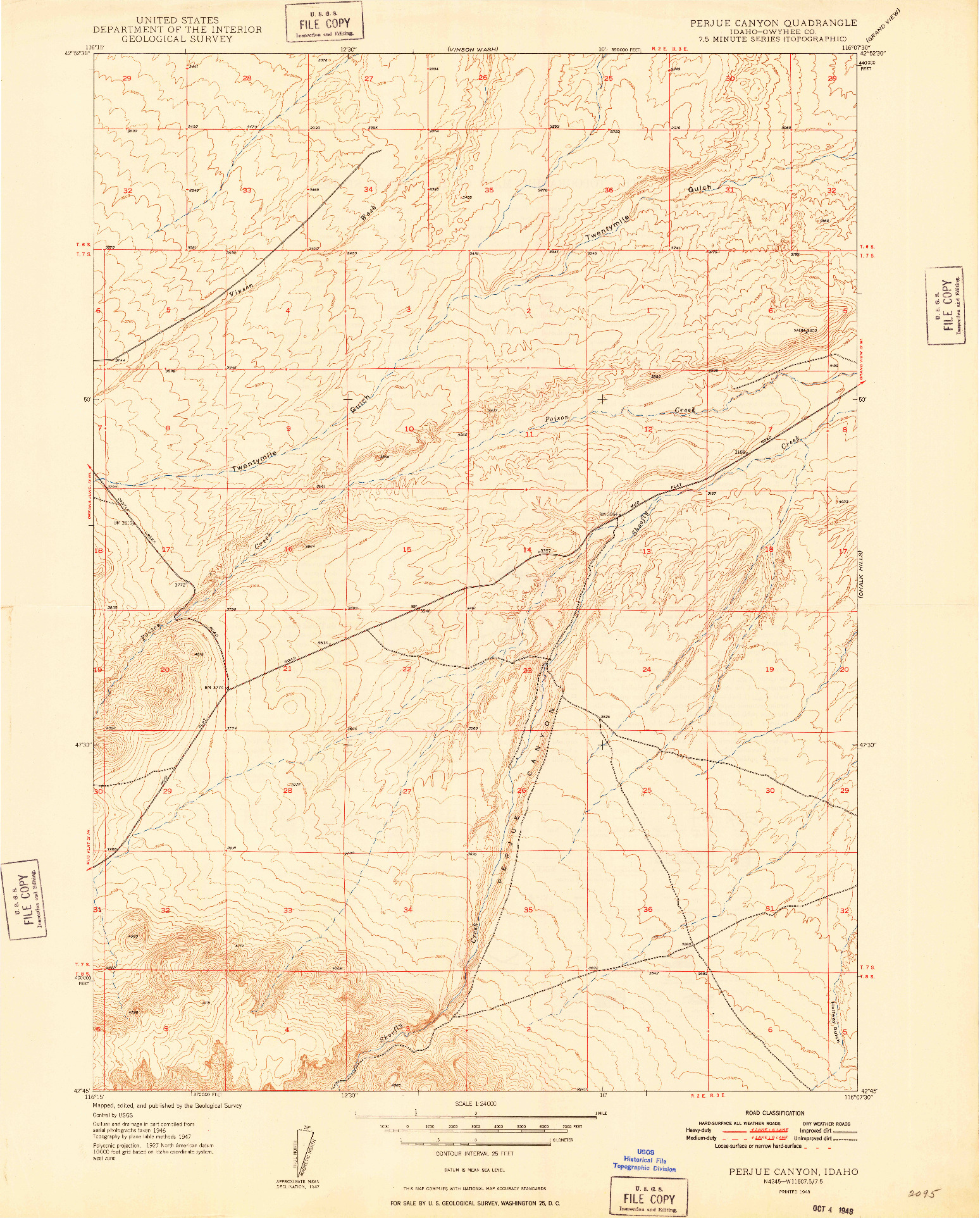 USGS 1:24000-SCALE QUADRANGLE FOR PERJUE CANYON, ID 1948