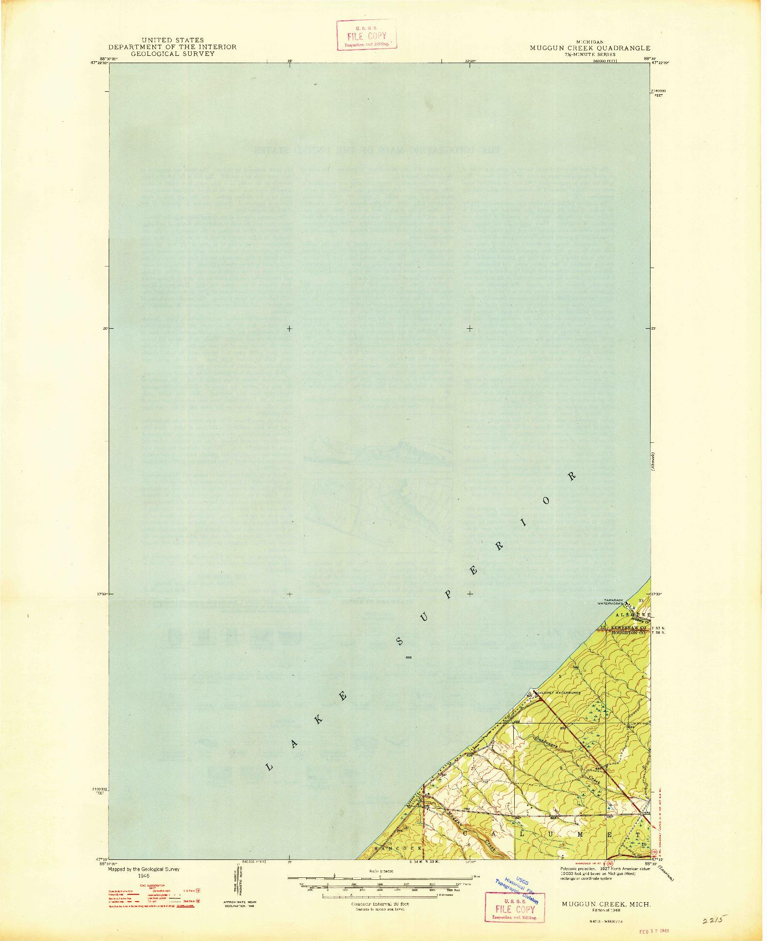 USGS 1:24000-SCALE QUADRANGLE FOR MUGGUN CREEK, MI 1948